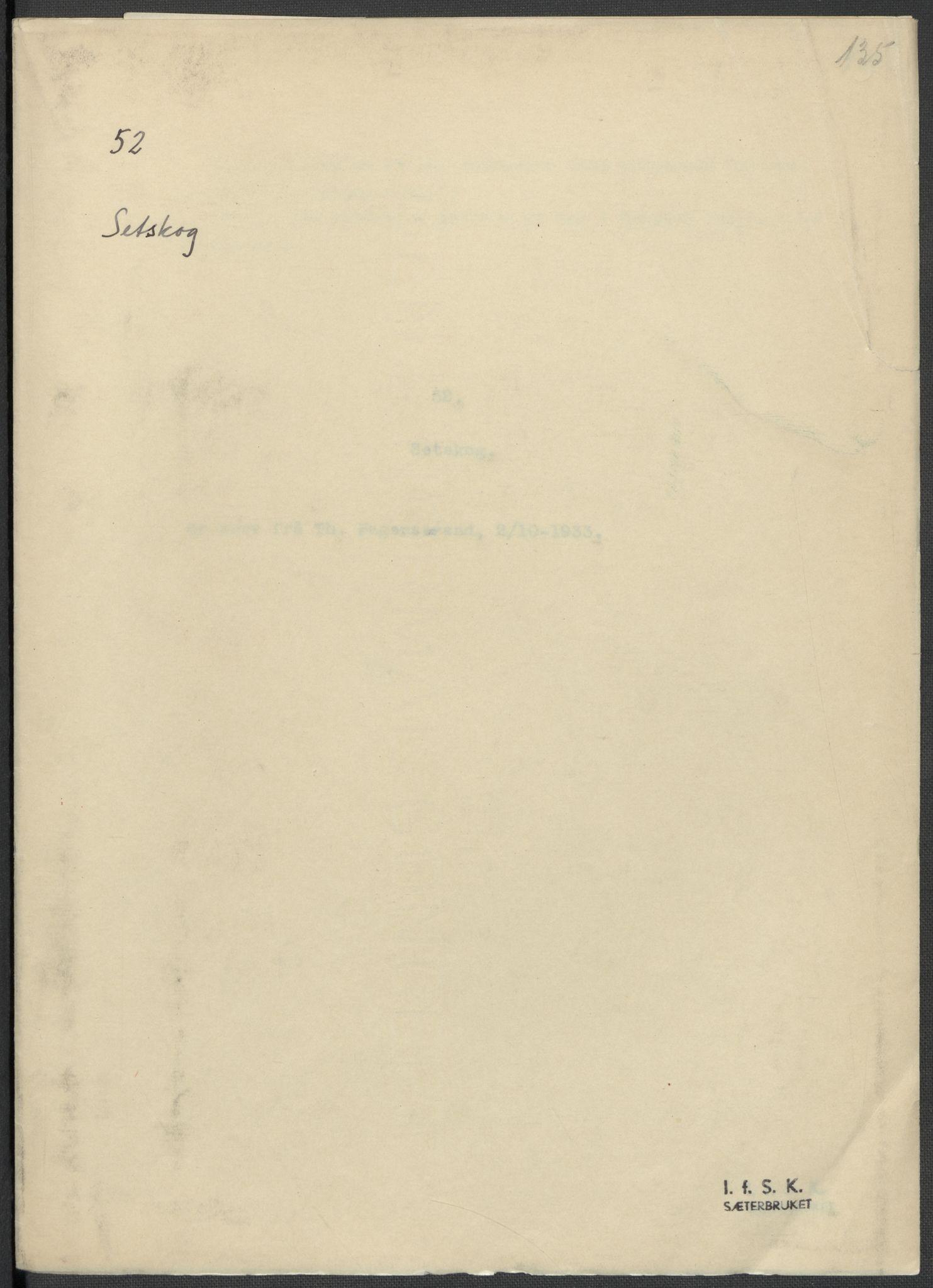 RA, Instituttet for sammenlignende kulturforskning, F/Fc/L0002: Eske B2:, 1932-1936, s. 135