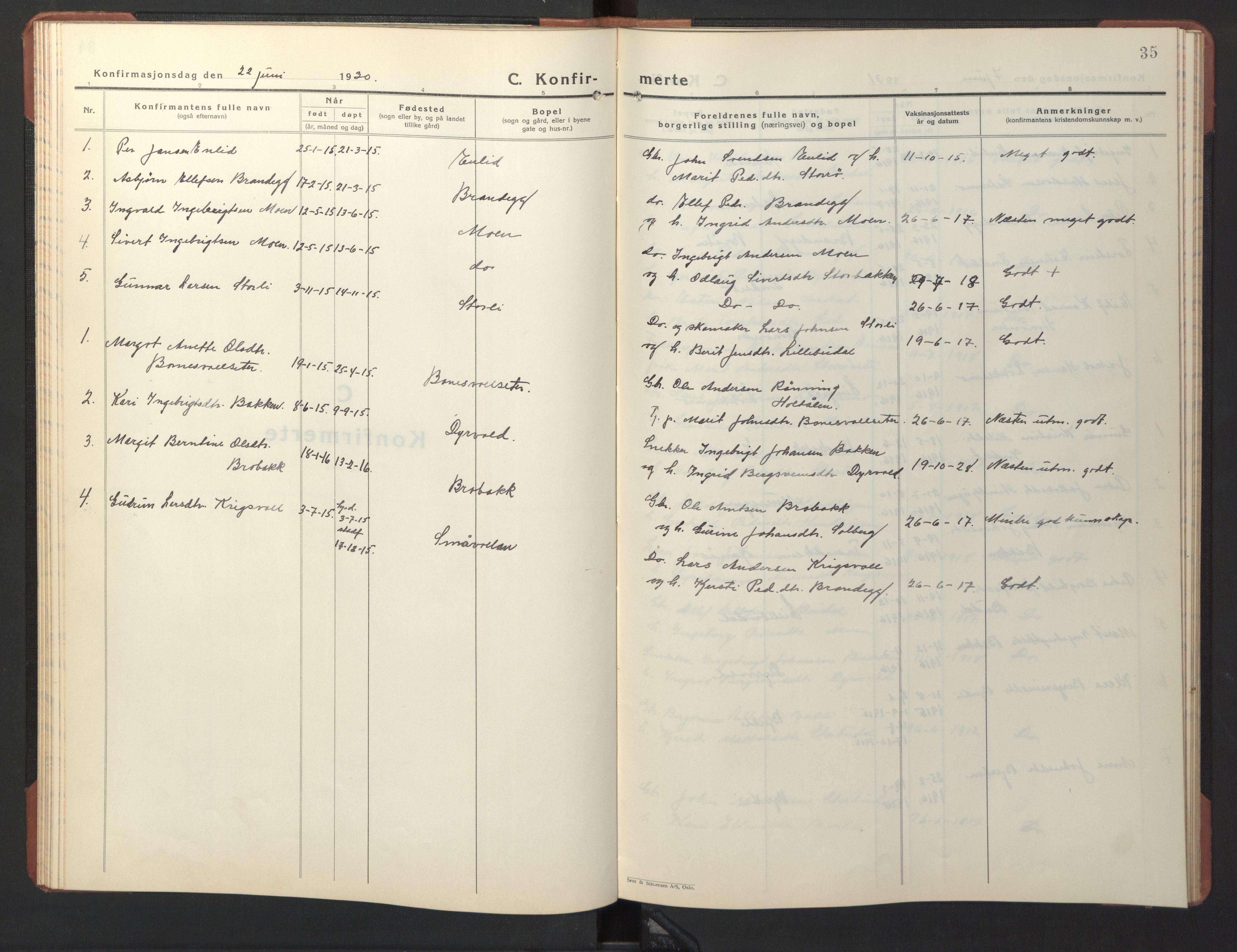 SAT, Ministerialprotokoller, klokkerbøker og fødselsregistre - Sør-Trøndelag, 690/L1053: Klokkerbok nr. 690C03, 1930-1947, s. 35