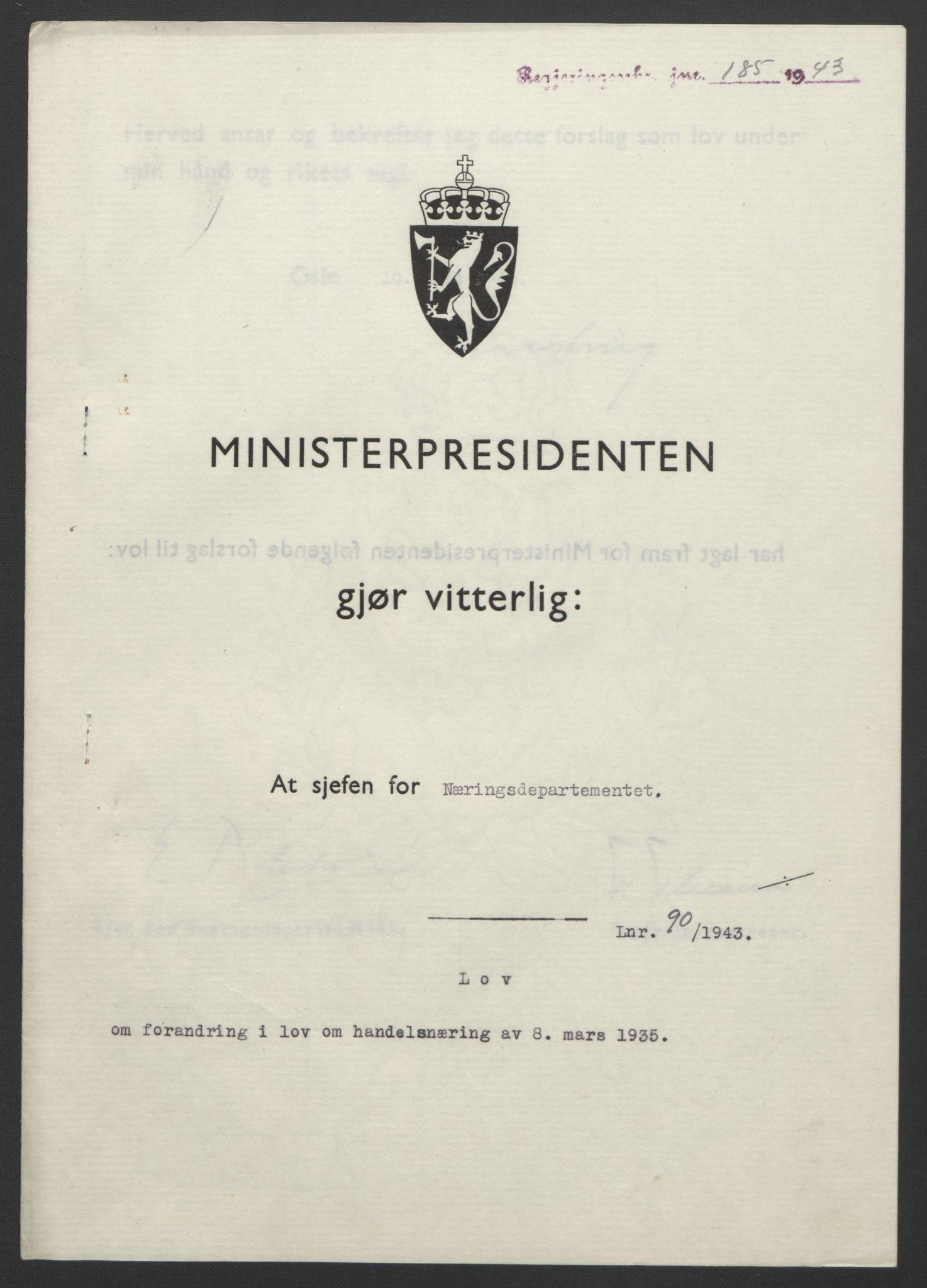 RA, NS-administrasjonen 1940-1945 (Statsrådsekretariatet, de kommisariske statsråder mm), D/Db/L0099: Lover, 1943, s. 408