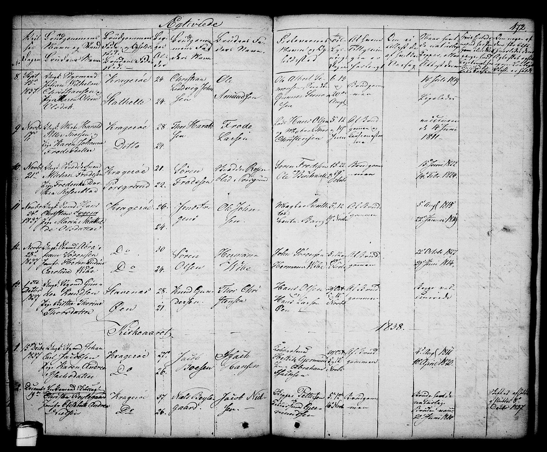 SAKO, Kragerø kirkebøker, G/Ga/L0003: Klokkerbok nr. 3, 1832-1852, s. 172