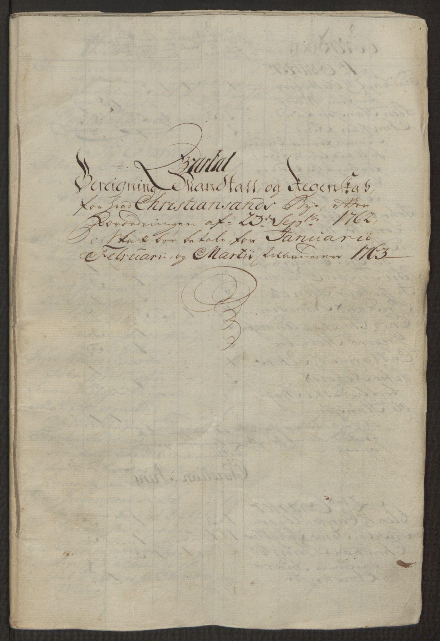 RA, Rentekammeret inntil 1814, Reviderte regnskaper, Byregnskaper, R/Rm/L0265: [M6] Kontribusjonsregnskap, 1762-1764, s. 80