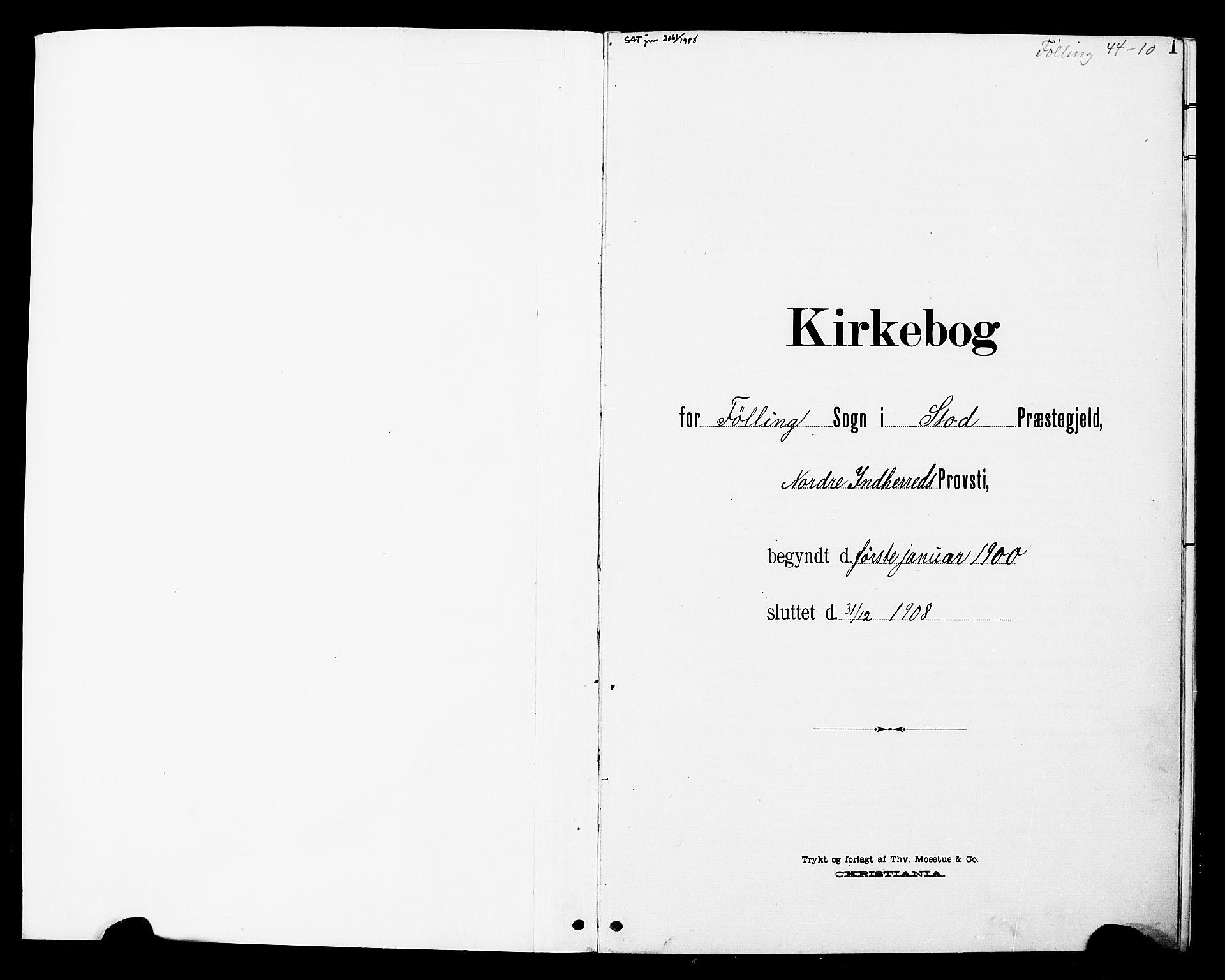 SAT, Ministerialprotokoller, klokkerbøker og fødselsregistre - Nord-Trøndelag, 748/L0464: Ministerialbok nr. 748A01, 1900-1908, s. 1
