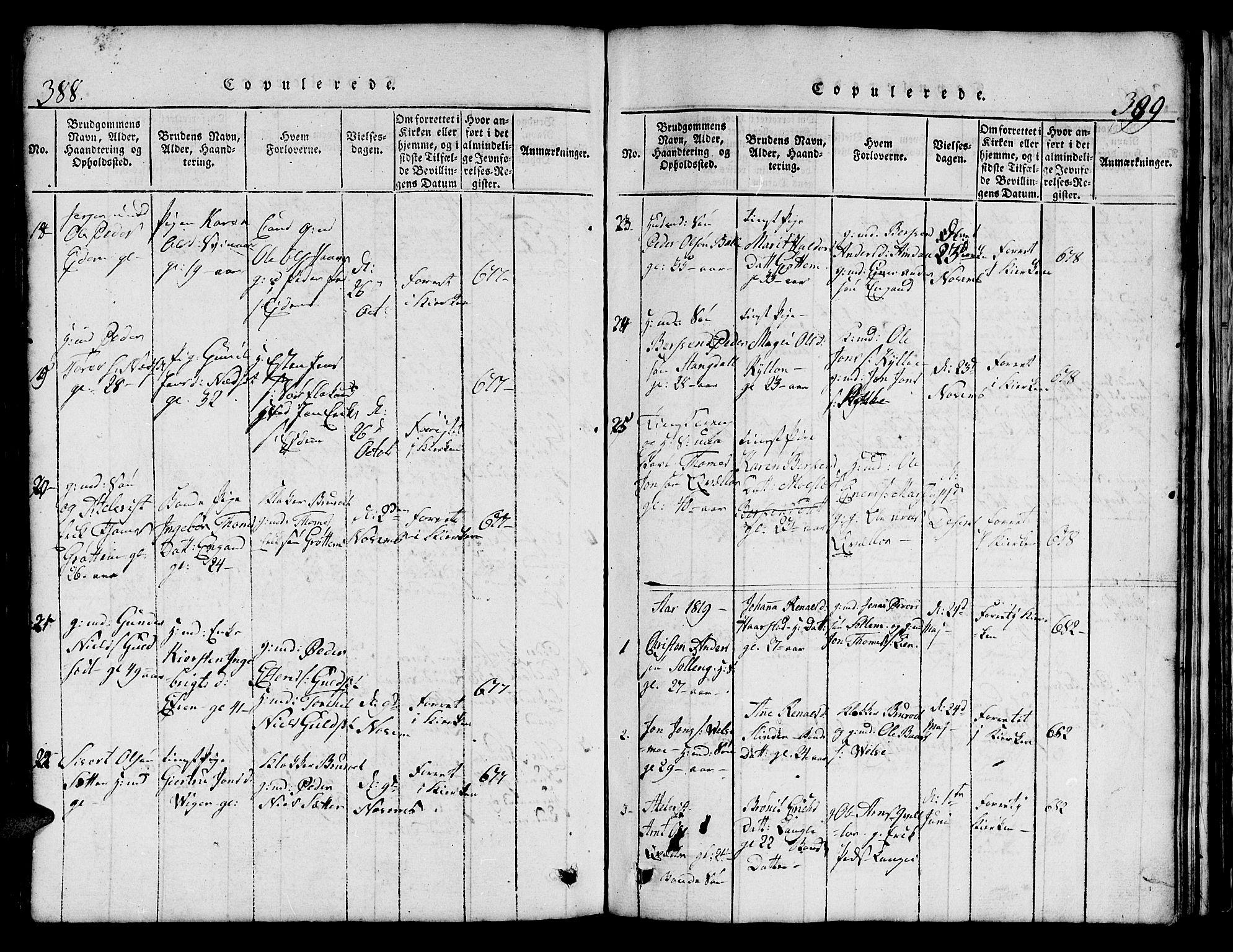SAT, Ministerialprotokoller, klokkerbøker og fødselsregistre - Sør-Trøndelag, 695/L1152: Klokkerbok nr. 695C03, 1816-1831, s. 388-389