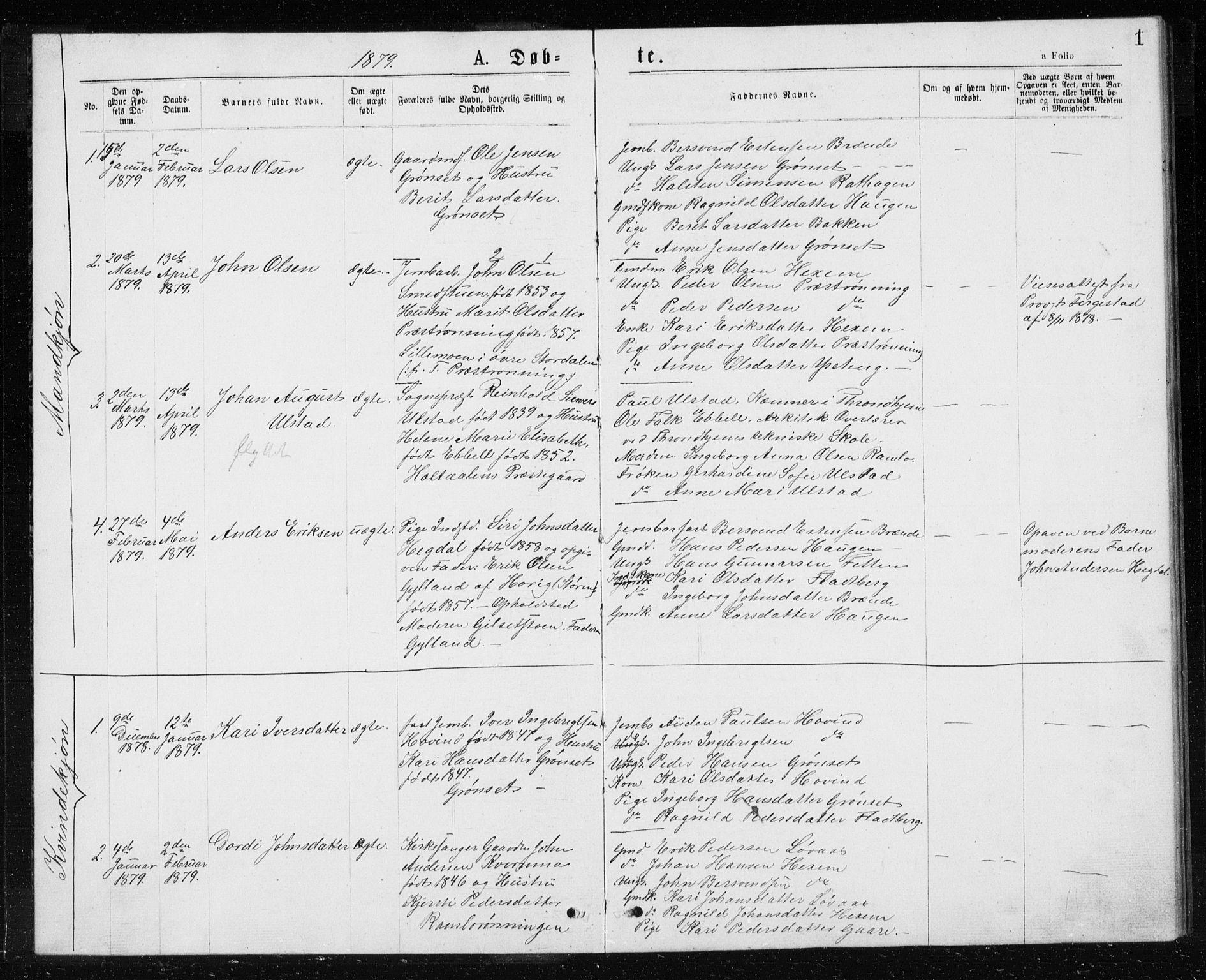 SAT, Ministerialprotokoller, klokkerbøker og fødselsregistre - Sør-Trøndelag, 685/L0977: Klokkerbok nr. 685C02, 1879-1890, s. 1