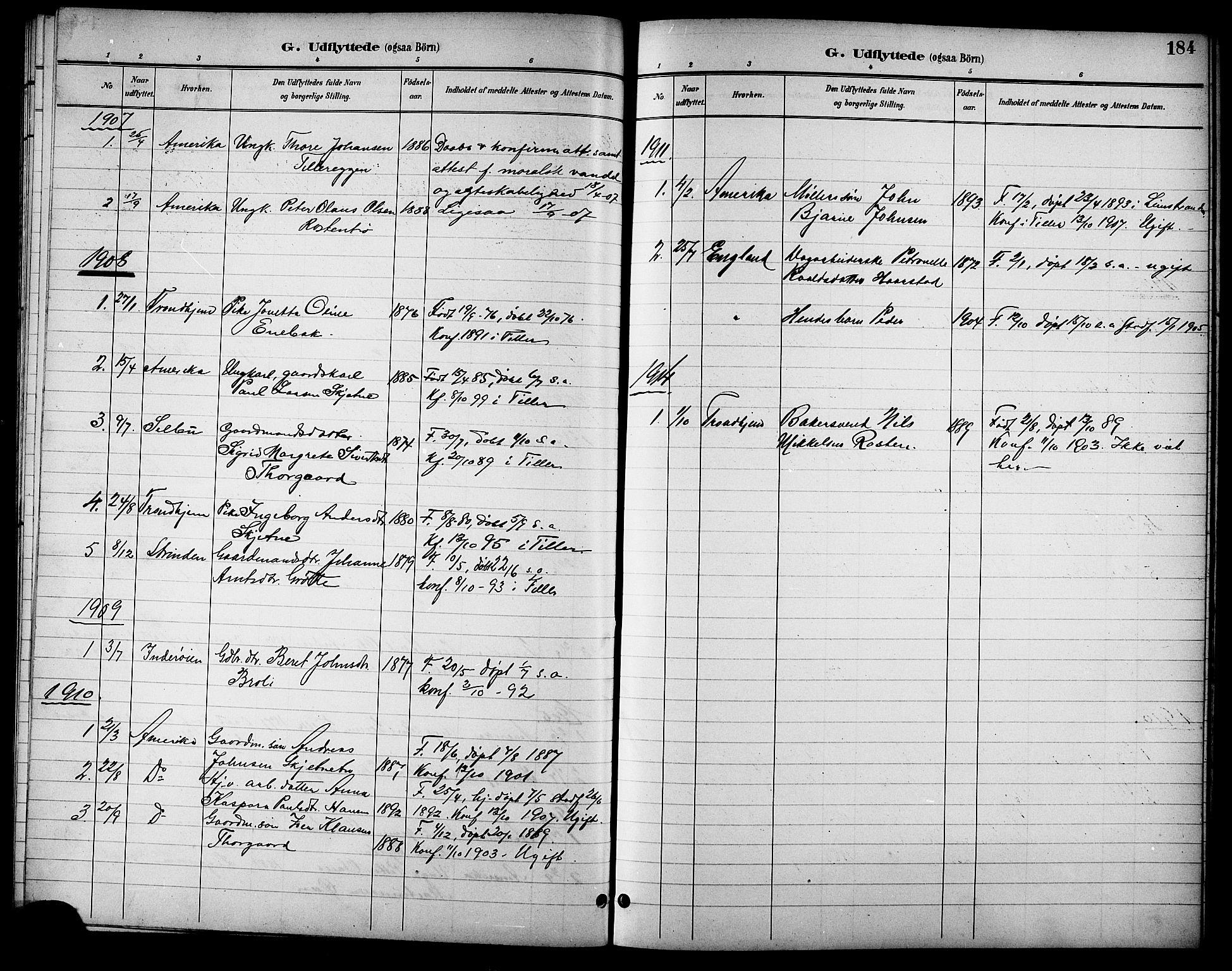 SAT, Ministerialprotokoller, klokkerbøker og fødselsregistre - Sør-Trøndelag, 621/L0460: Klokkerbok nr. 621C03, 1896-1914, s. 184
