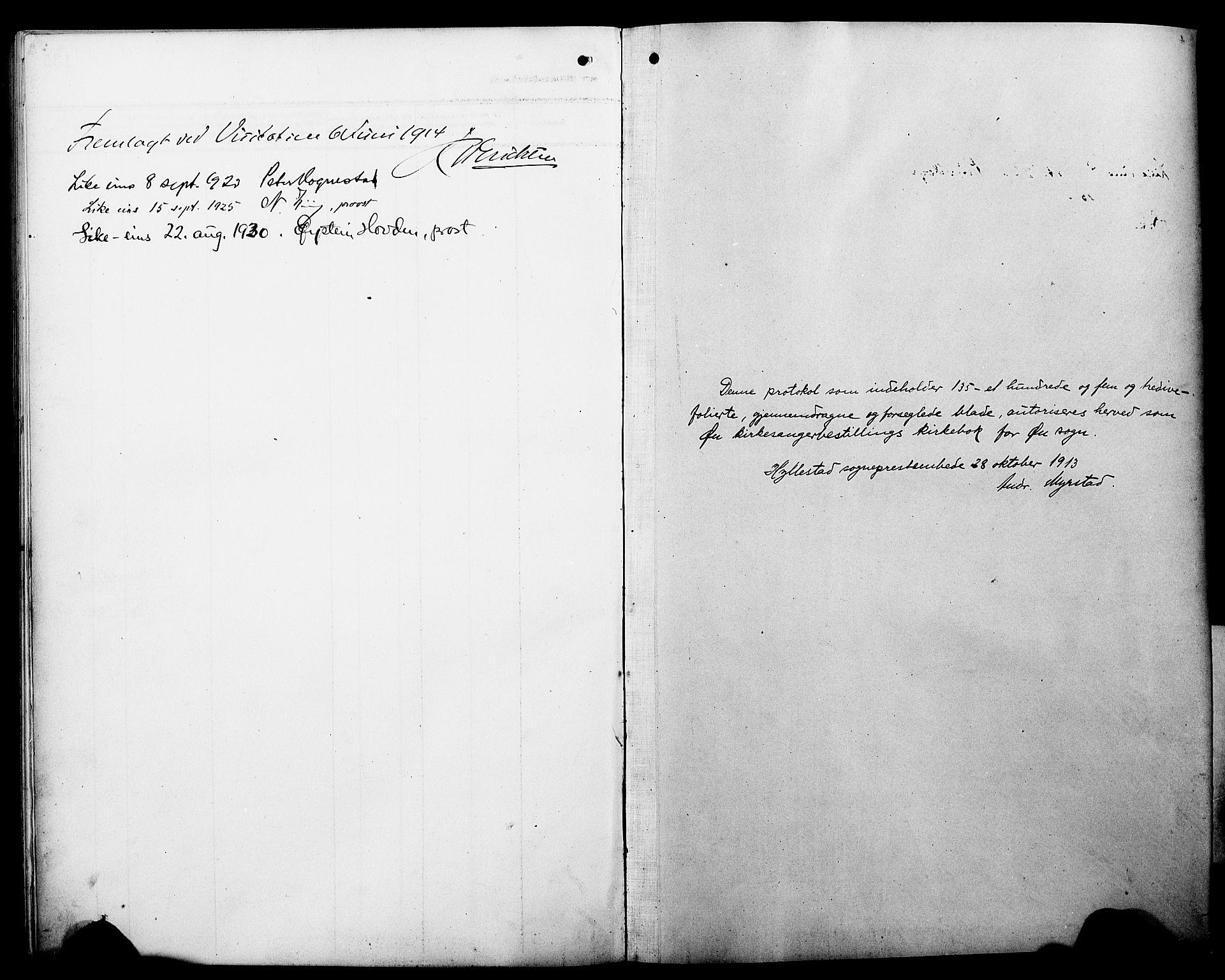 SAB, Hyllestad Sokneprestembete, Klokkerbok nr. C 4, 1914-1927