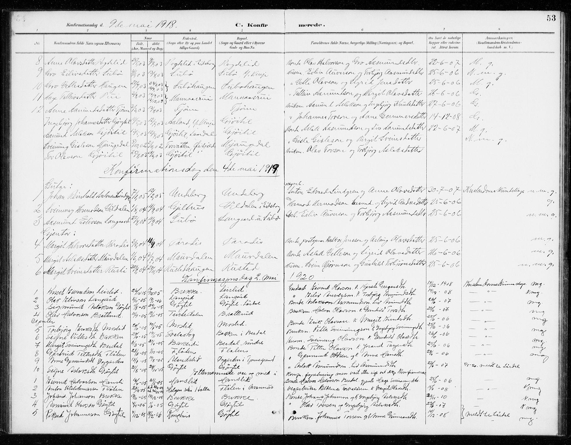 SAKO, Vinje kirkebøker, G/Gb/L0003: Klokkerbok nr. II 3, 1892-1943, s. 53