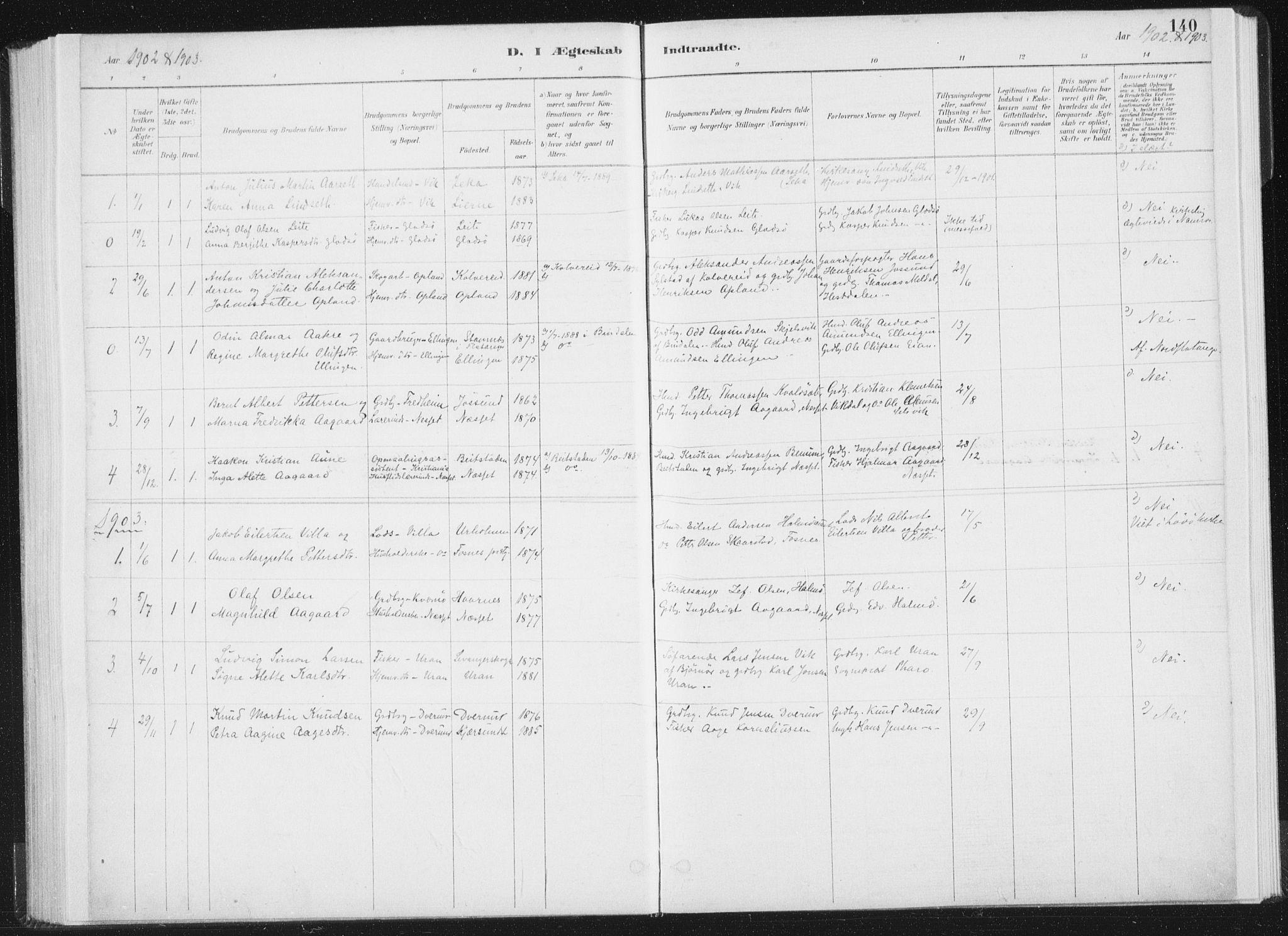 SAT, Ministerialprotokoller, klokkerbøker og fødselsregistre - Nord-Trøndelag, 771/L0597: Ministerialbok nr. 771A04, 1885-1910, s. 140