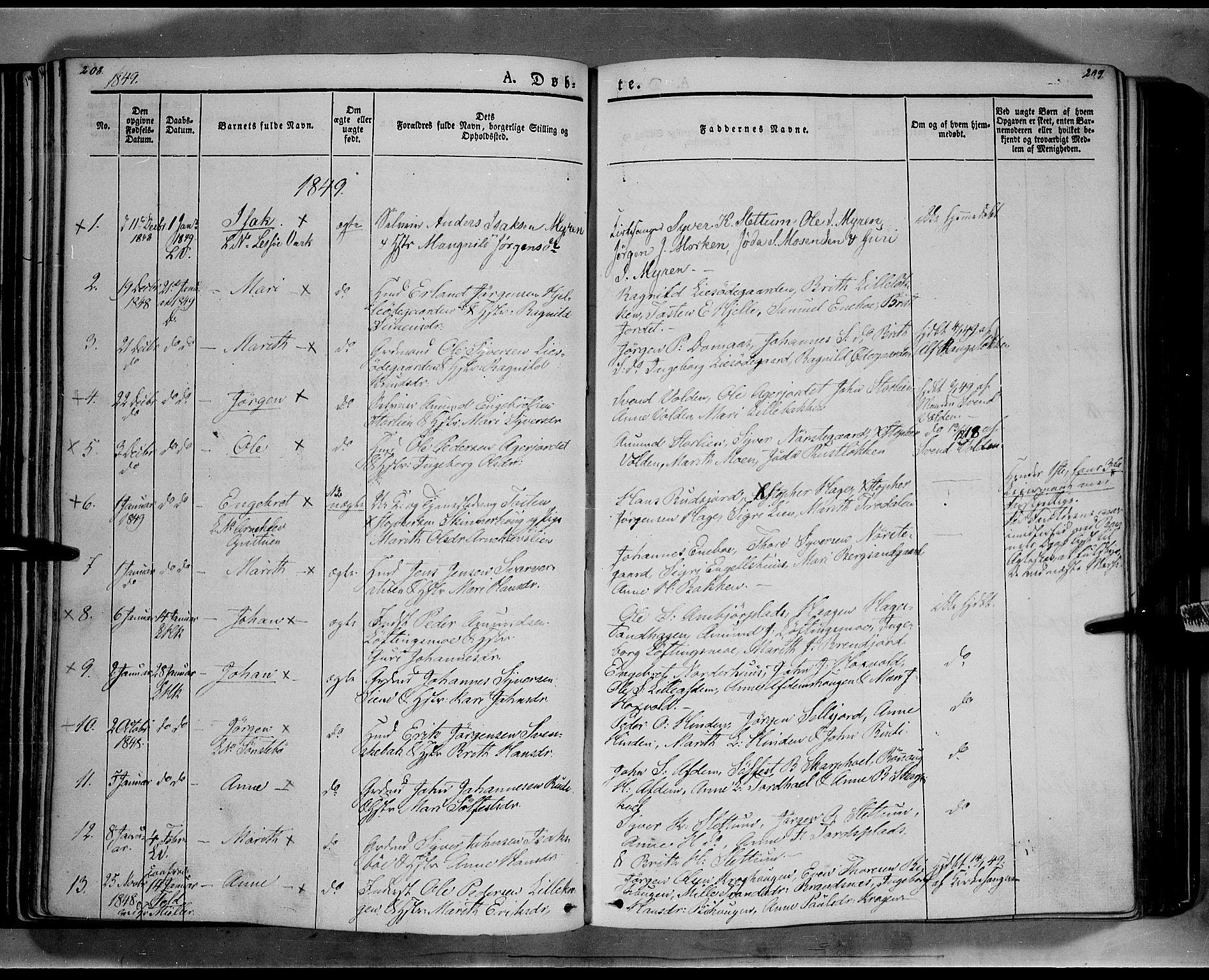 SAH, Lesja prestekontor, Ministerialbok nr. 6A, 1843-1854, s. 208-209