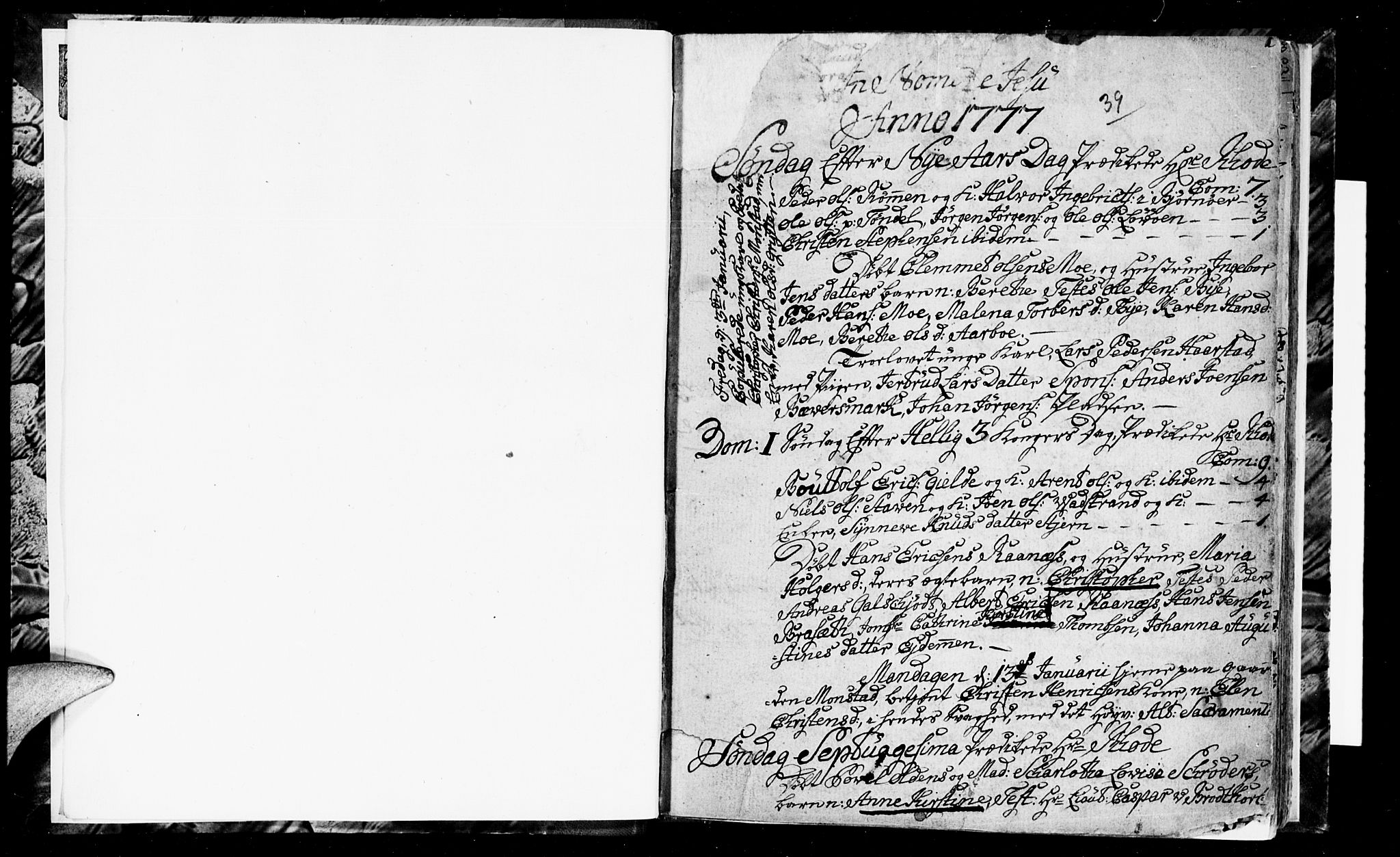 SAT, Ministerialprotokoller, klokkerbøker og fødselsregistre - Sør-Trøndelag, 655/L0685: Klokkerbok nr. 655C01, 1777-1788, s. 0-1