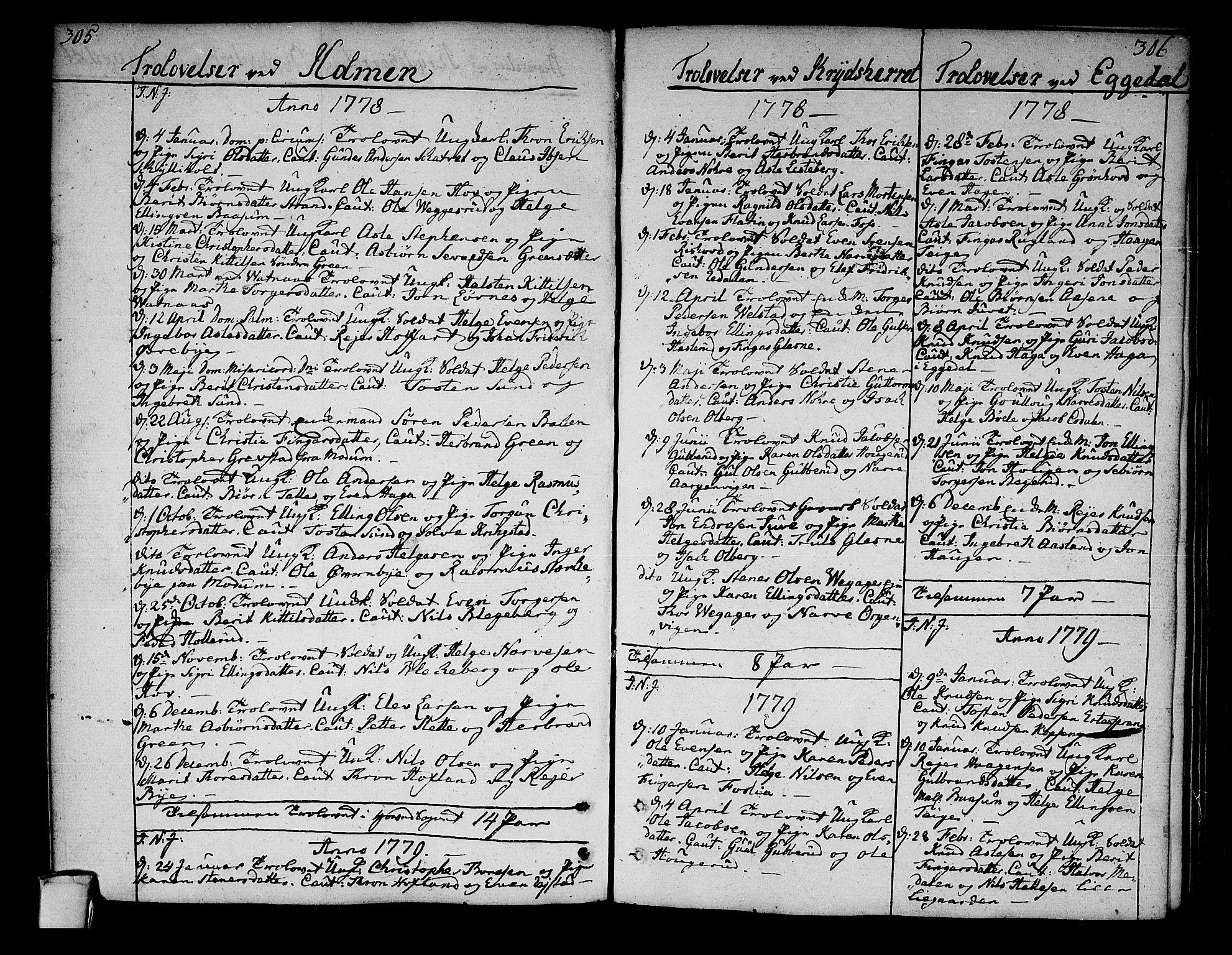 SAKO, Sigdal kirkebøker, F/Fa/L0002: Ministerialbok nr. I 2, 1778-1792, s. 305-306