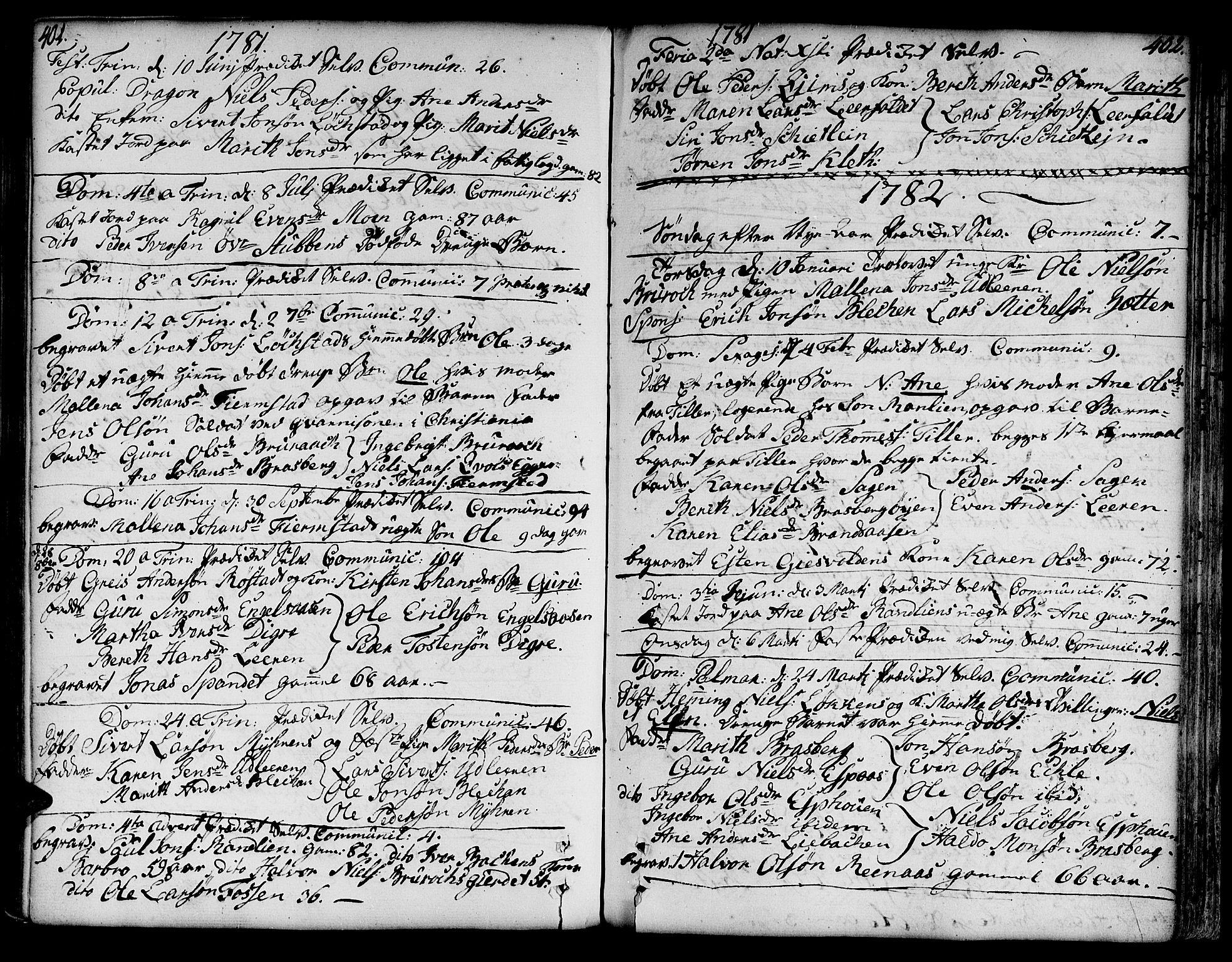 SAT, Ministerialprotokoller, klokkerbøker og fødselsregistre - Sør-Trøndelag, 606/L0282: Ministerialbok nr. 606A02 /3, 1781-1817, s. 401-402