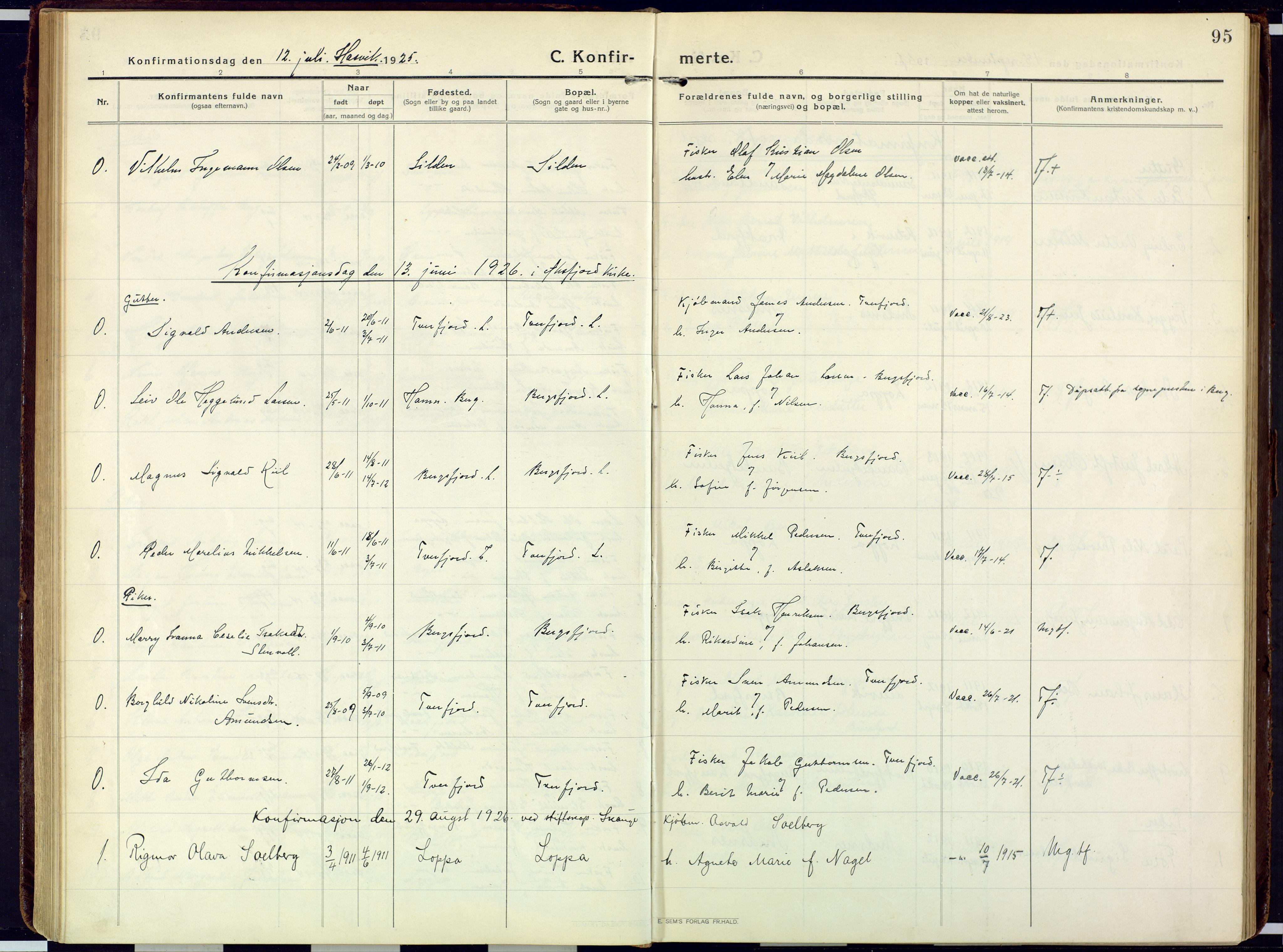 SATØ, Loppa sokneprestkontor, H/Ha/L0013kirke: Ministerialbok nr. 13, 1920-1932, s. 95