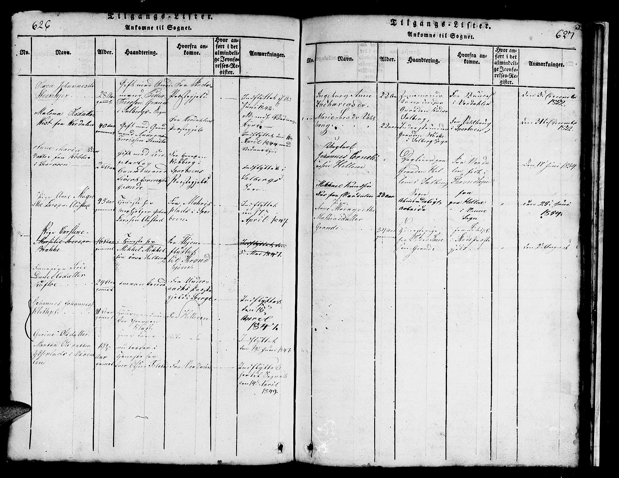 SAT, Ministerialprotokoller, klokkerbøker og fødselsregistre - Nord-Trøndelag, 731/L0310: Klokkerbok nr. 731C01, 1816-1874, s. 624-625