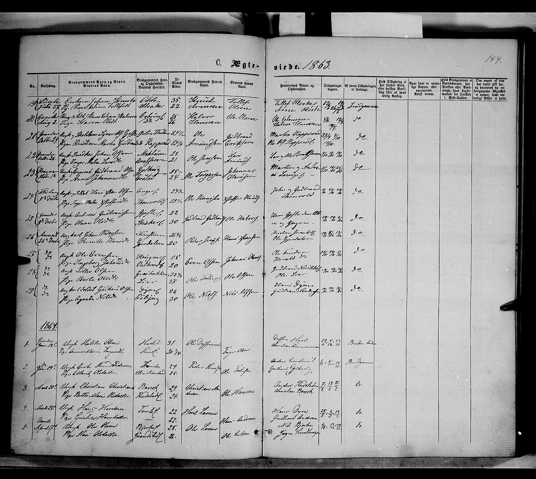 SAH, Nordre Land prestekontor, Ministerialbok nr. 1, 1860-1871, s. 144