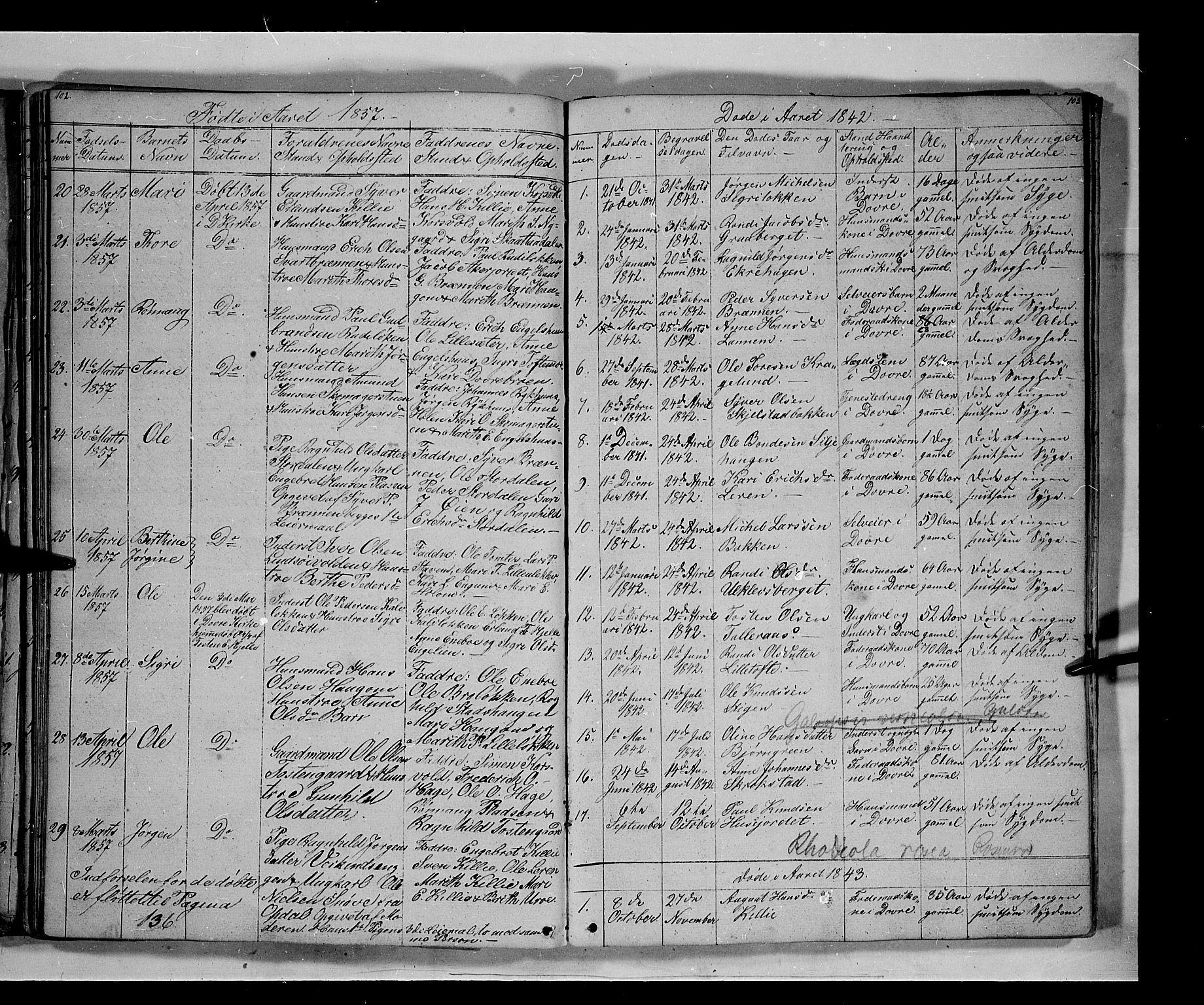 SAH, Lesja prestekontor, Klokkerbok nr. 3, 1842-1862, s. 102-103