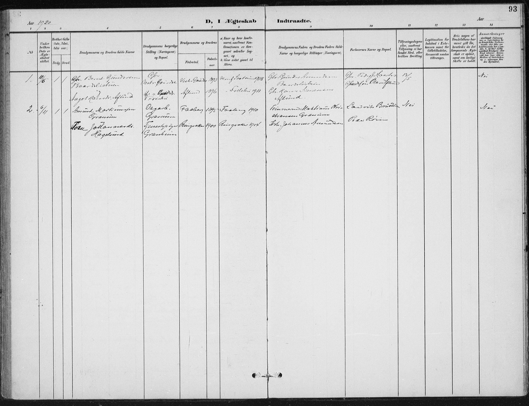 SAH, Østre Gausdal prestekontor, Ministerialbok nr. 5, 1902-1920, s. 93