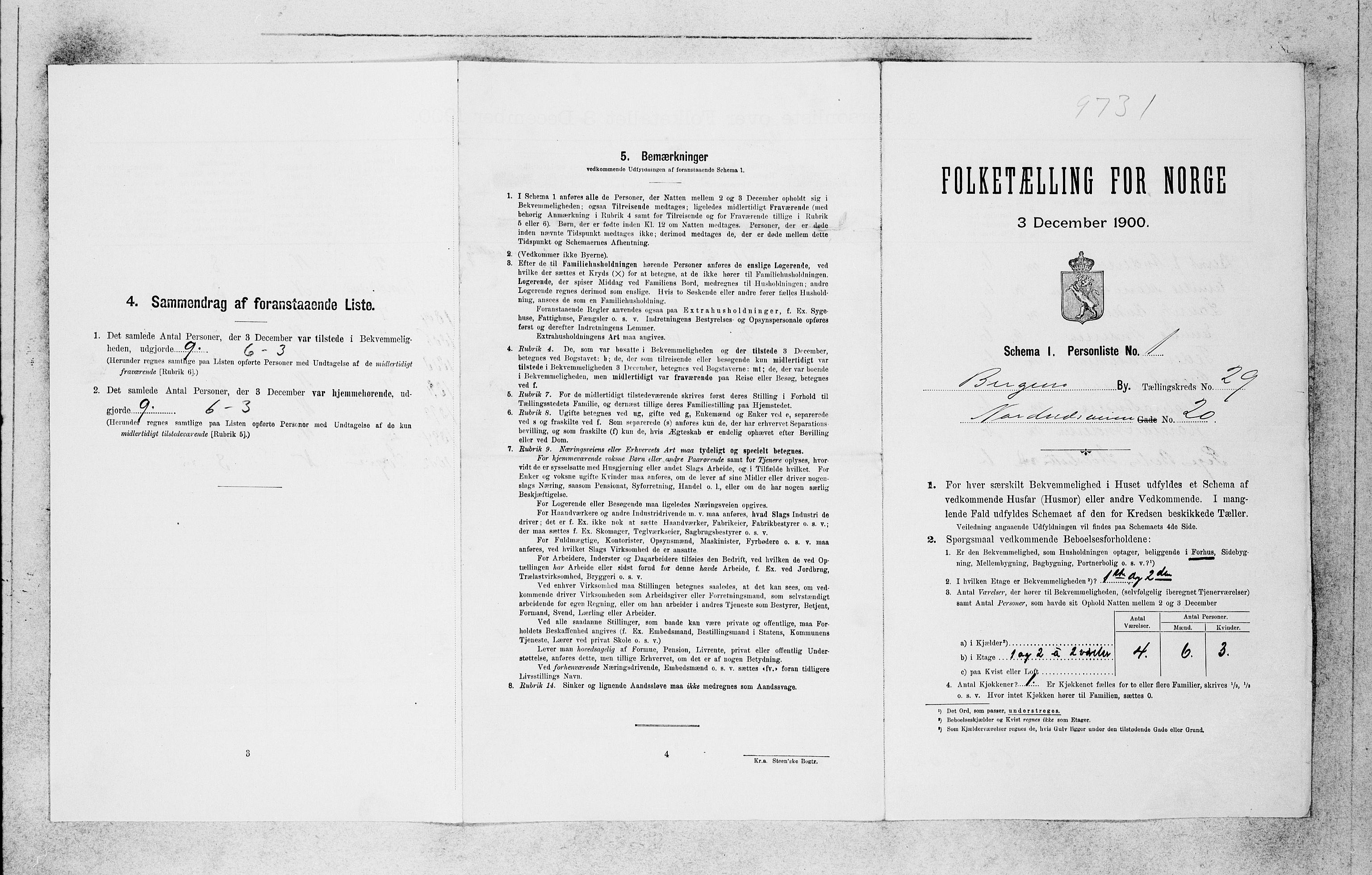 SAB, Folketelling 1900 for 1301 Bergen kjøpstad, 1900, s. 6164