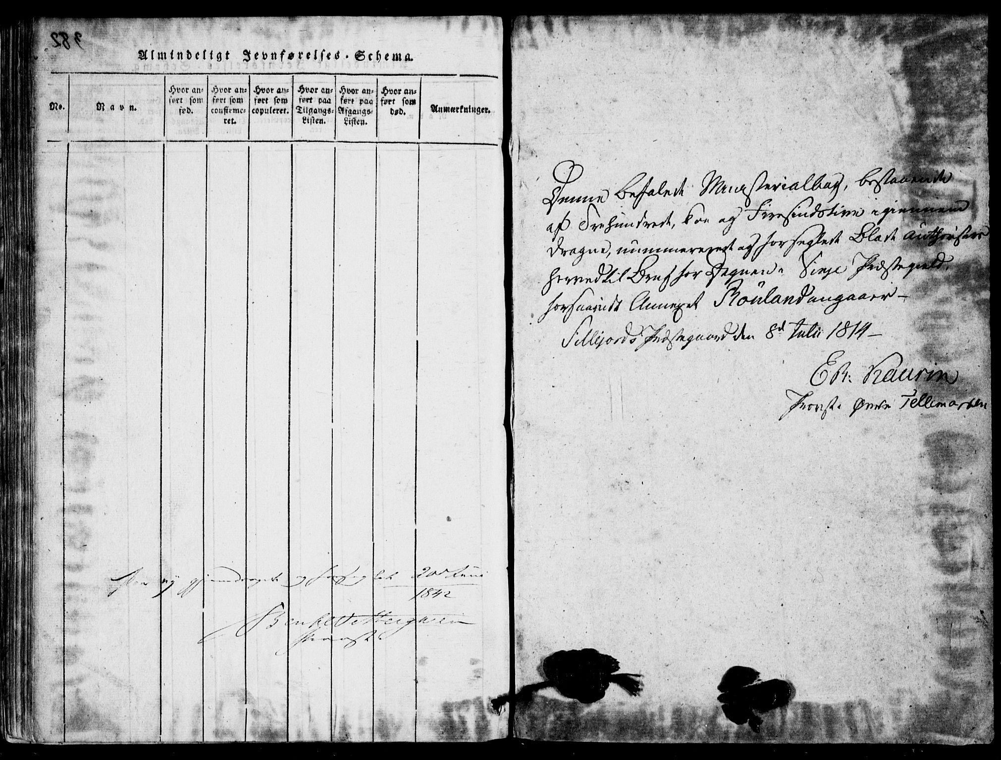 SAKO, Rauland kirkebøker, G/Ga/L0001: Klokkerbok nr. I 1, 1814-1843
