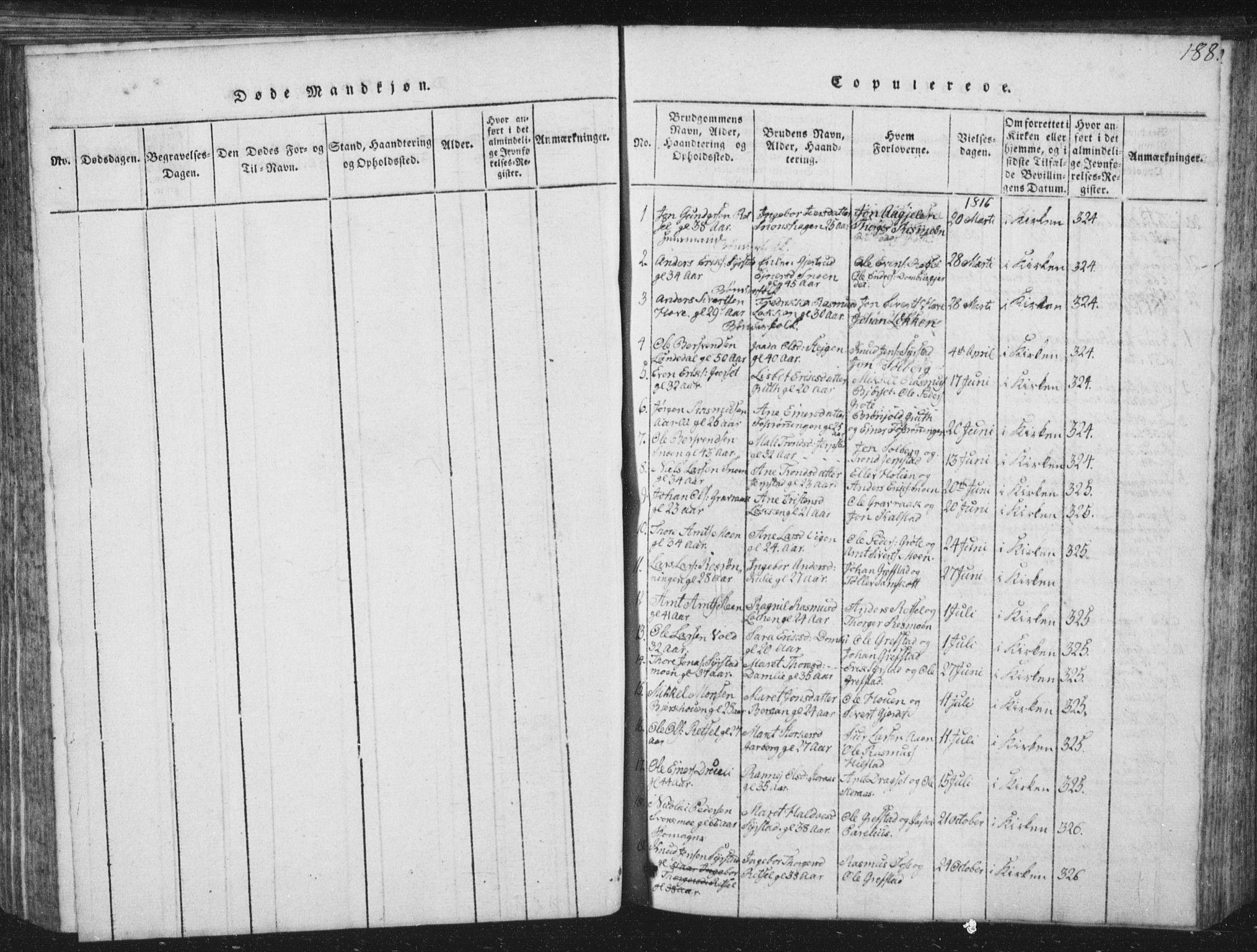 SAT, Ministerialprotokoller, klokkerbøker og fødselsregistre - Sør-Trøndelag, 672/L0862: Klokkerbok nr. 672C01, 1816-1831, s. 188