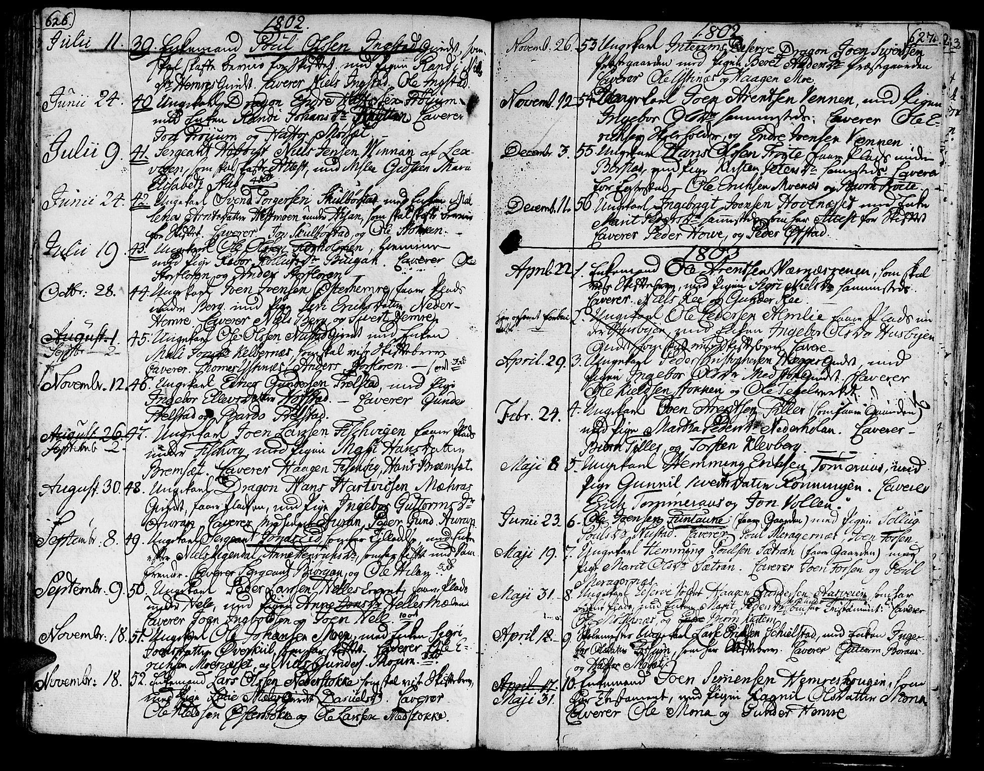 SAT, Ministerialprotokoller, klokkerbøker og fødselsregistre - Nord-Trøndelag, 709/L0060: Ministerialbok nr. 709A07, 1797-1815, s. 626-627