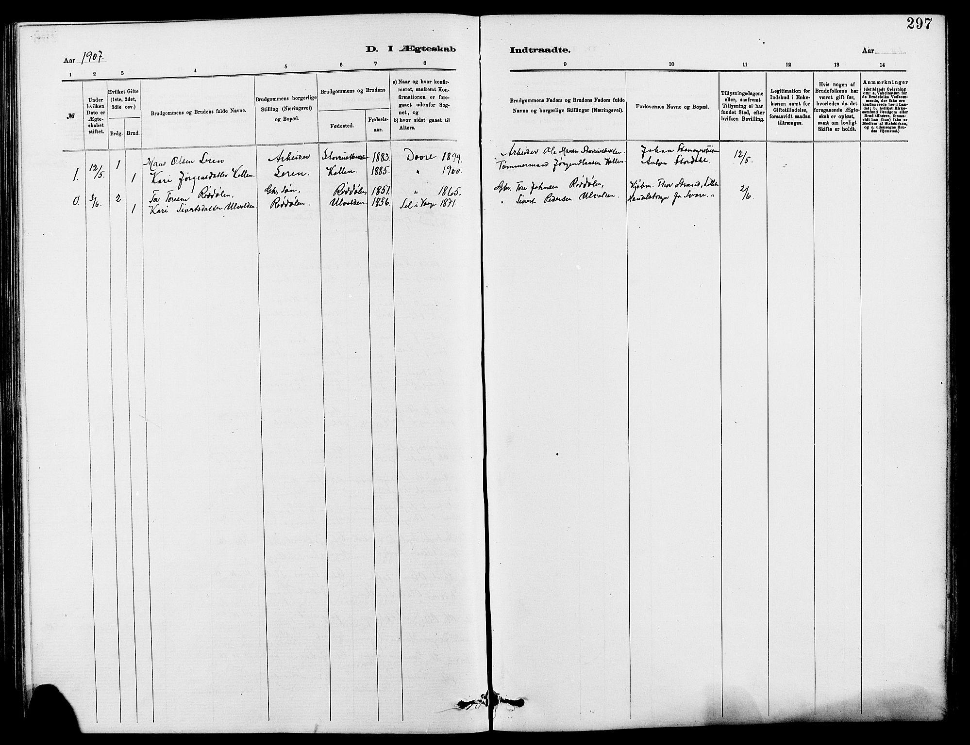 SAH, Dovre prestekontor, Klokkerbok nr. 2, 1881-1907, s. 297