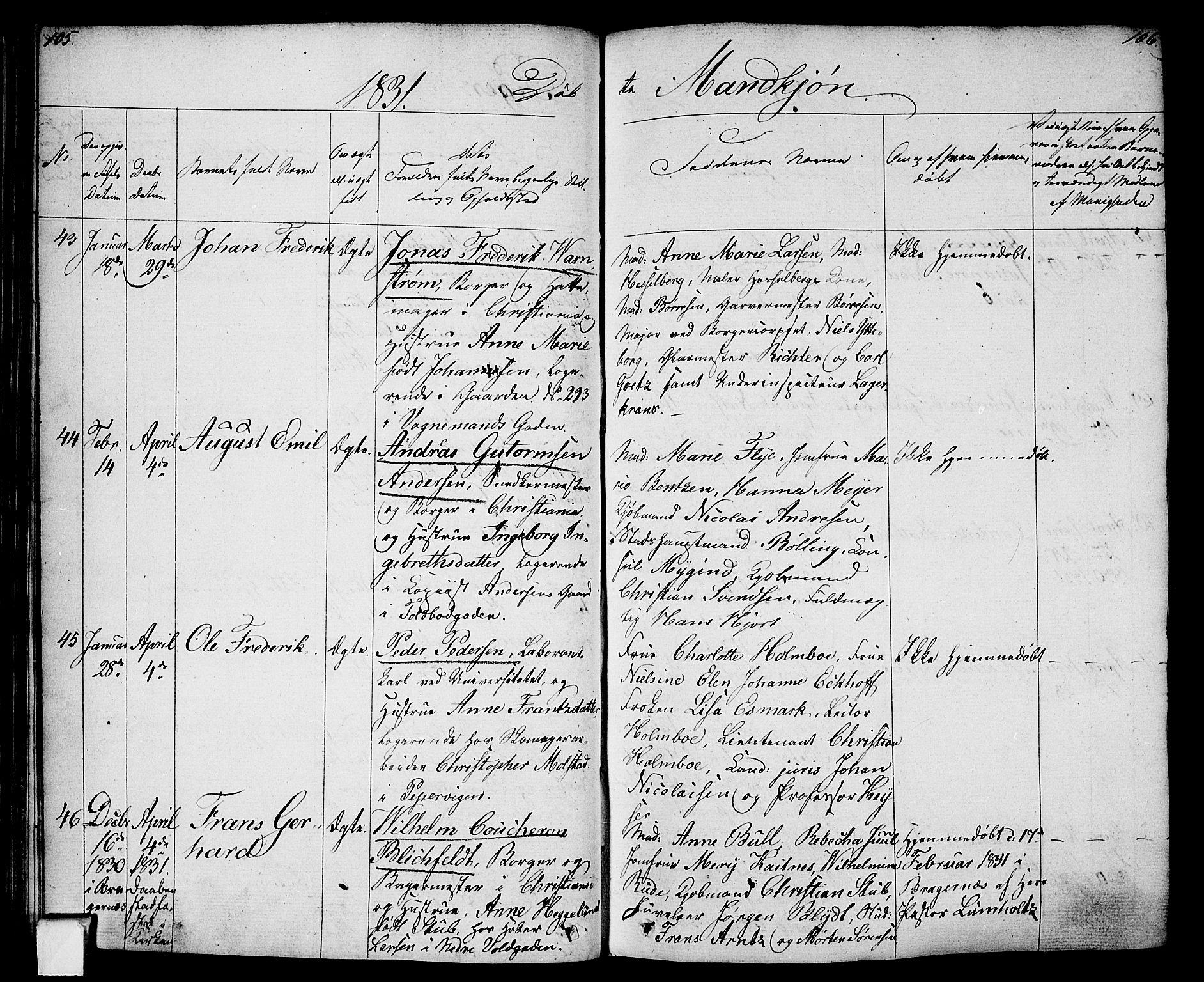 SAO, Oslo domkirke Kirkebøker, F/Fa/L0011: Ministerialbok nr. 11, 1830-1836, s. 105-106