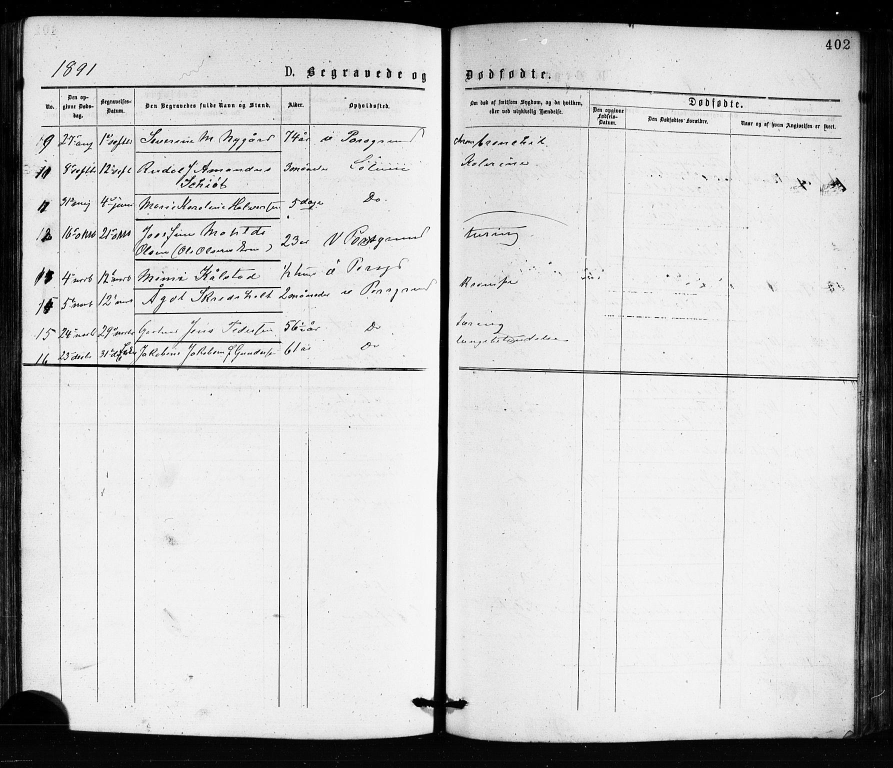 SAKO, Porsgrunn kirkebøker , G/Ga/L0003: Klokkerbok nr. I 3, 1877-1915, s. 402