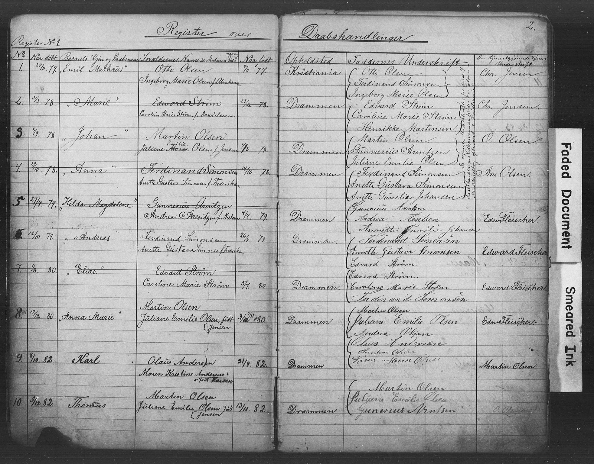 SAKO, Den katolsk-apostoliske menighet i Drammen, H/Ha/L0001: Dissenterprotokoll nr. 1, 1877-1899, s. 2