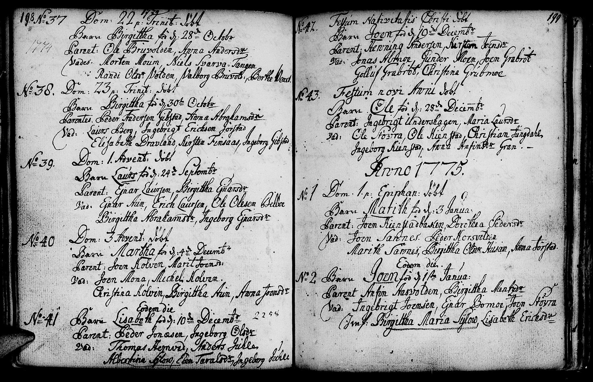 SAT, Ministerialprotokoller, klokkerbøker og fødselsregistre - Nord-Trøndelag, 749/L0467: Ministerialbok nr. 749A01, 1733-1787, s. 198-199