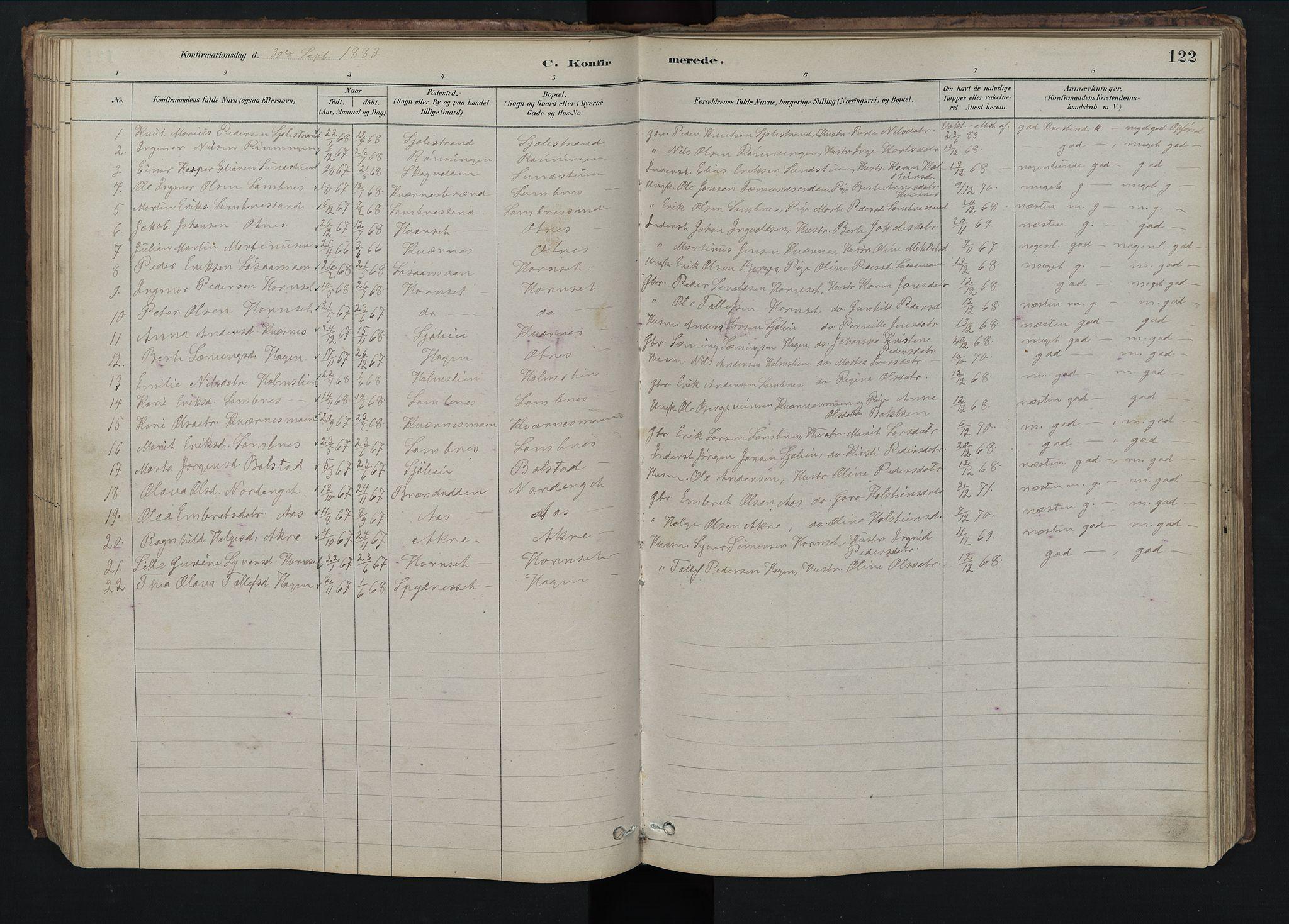 SAH, Rendalen prestekontor, H/Ha/Hab/L0009: Klokkerbok nr. 9, 1879-1902, s. 122
