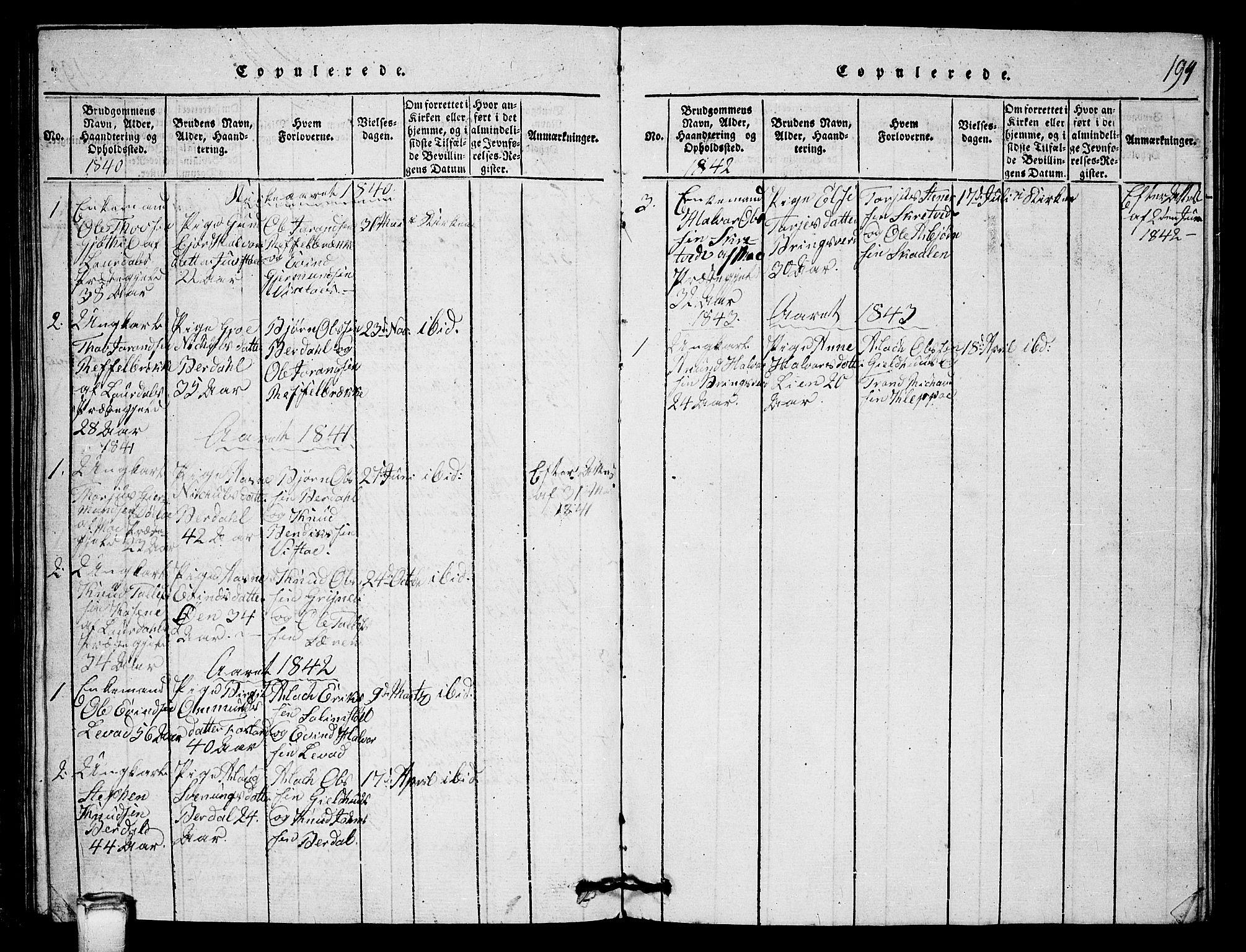 SAKO, Vinje kirkebøker, G/Gb/L0001: Klokkerbok nr. II 1, 1814-1843, s. 194