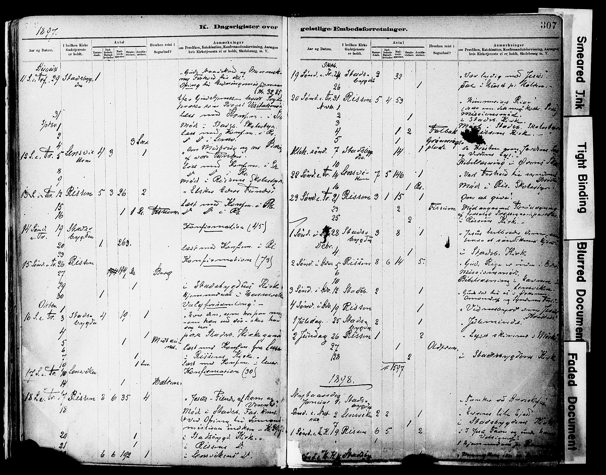 SAT, Ministerialprotokoller, klokkerbøker og fødselsregistre - Sør-Trøndelag, 646/L0615: Ministerialbok nr. 646A13, 1885-1900, s. 307