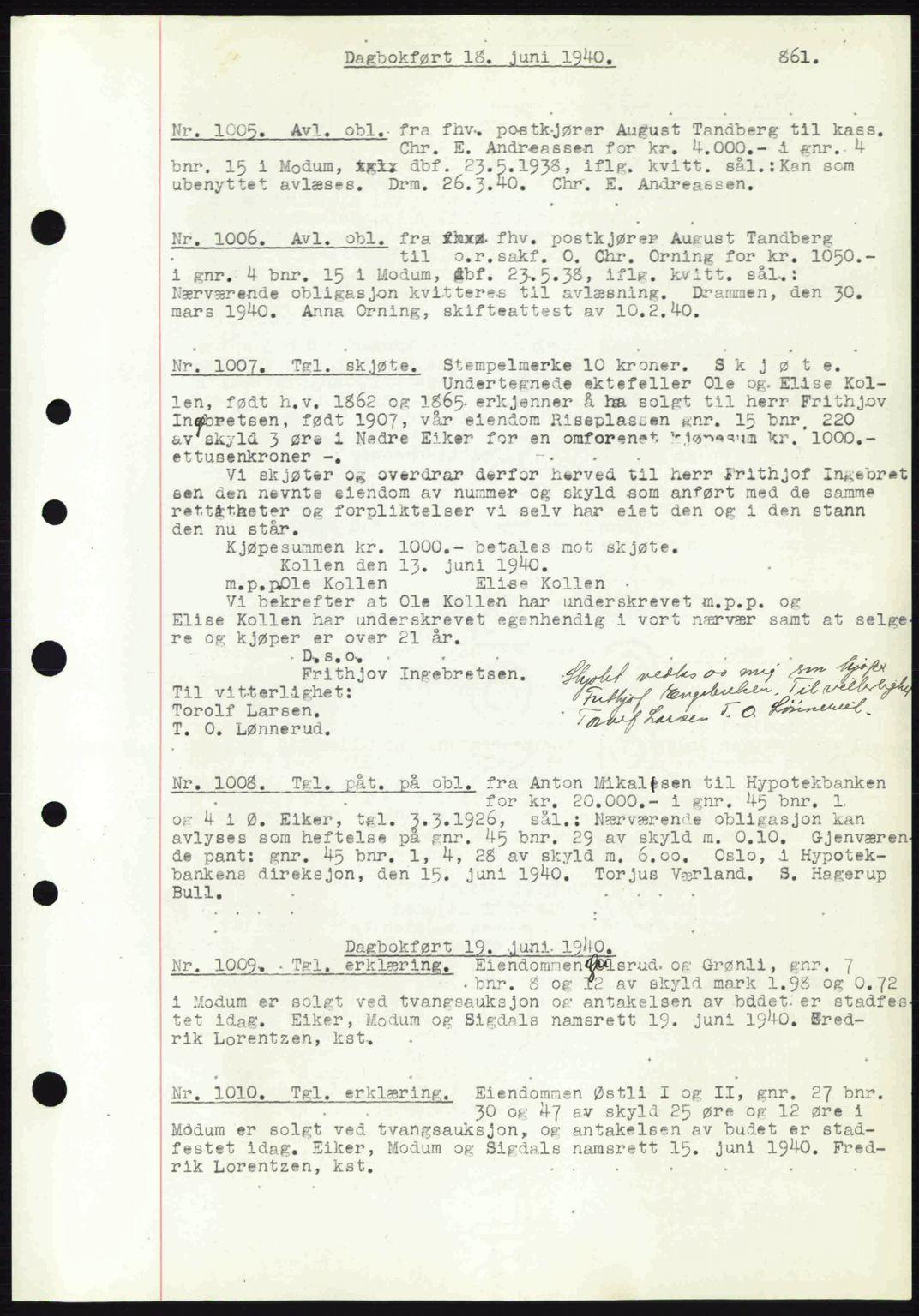 SAKO, Eiker, Modum og Sigdal sorenskriveri, G/Ga/Gab/L0041: Pantebok nr. A11, 1939-1940, Dagboknr: 1005/1940
