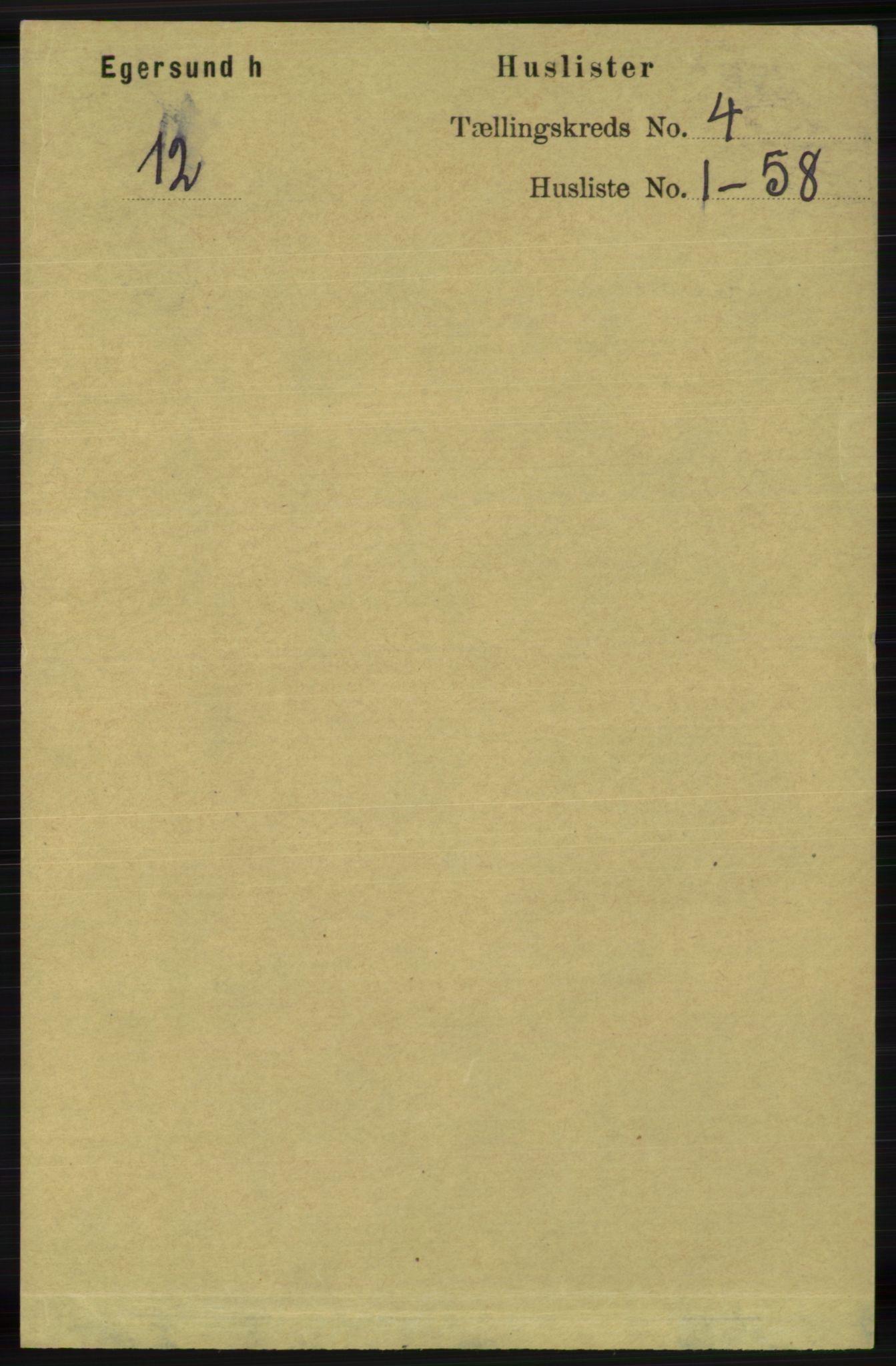 RA, Folketelling 1891 for 1116 Eigersund herred, 1891, s. 1536