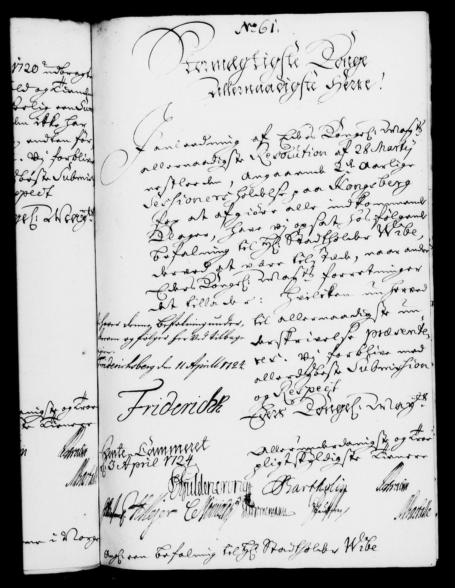 RA, Rentekammeret, Kammerkanselliet, G/Gf/Gfa/L0007: Norsk relasjons- og resolusjonsprotokoll (merket RK 52.7), 1724, s. 395