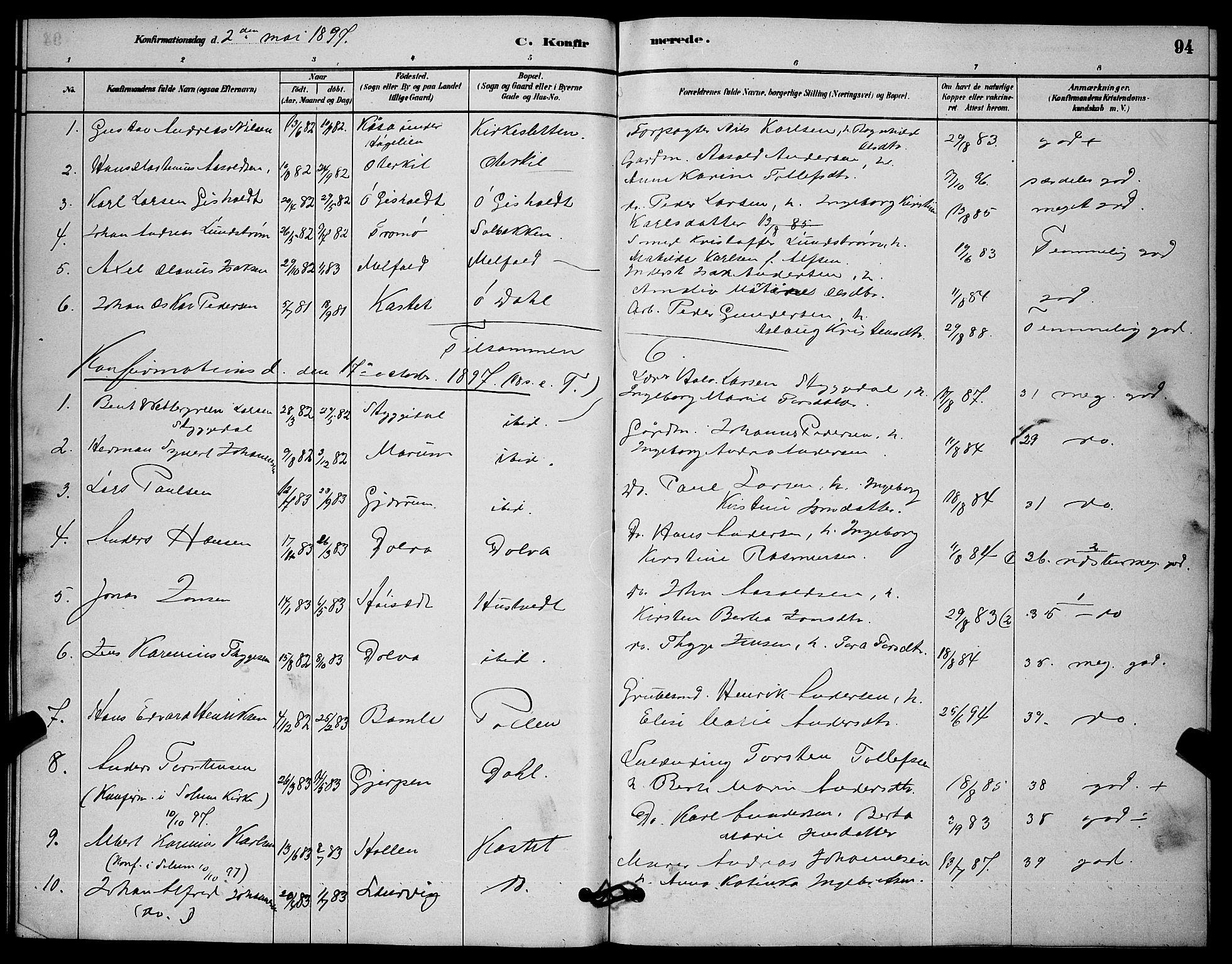 SAKO, Solum kirkebøker, G/Gb/L0003: Klokkerbok nr. II 3, 1880-1898, s. 94
