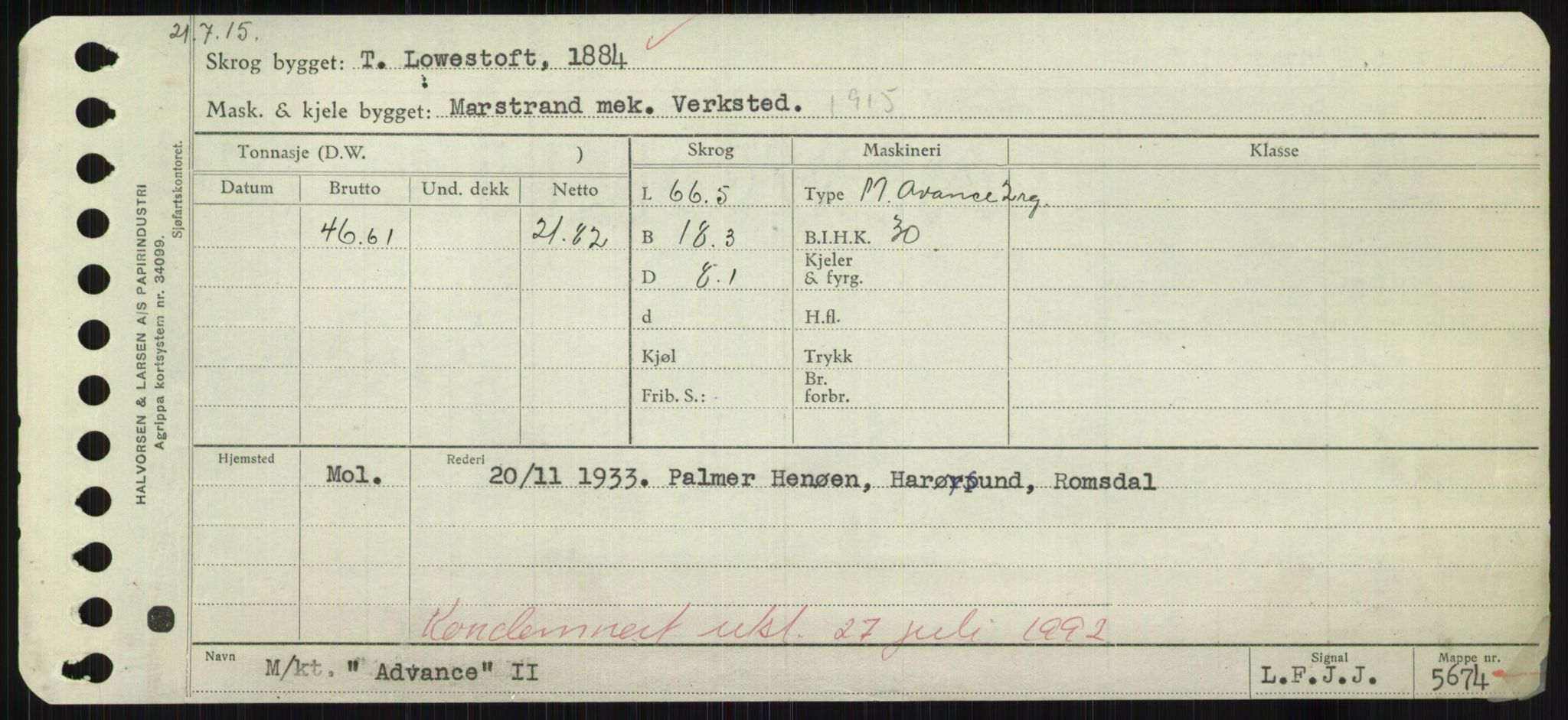 RA, Sjøfartsdirektoratet med forløpere, Skipsmålingen, H/Hd/L0001: Fartøy, A-Anv, s. 101