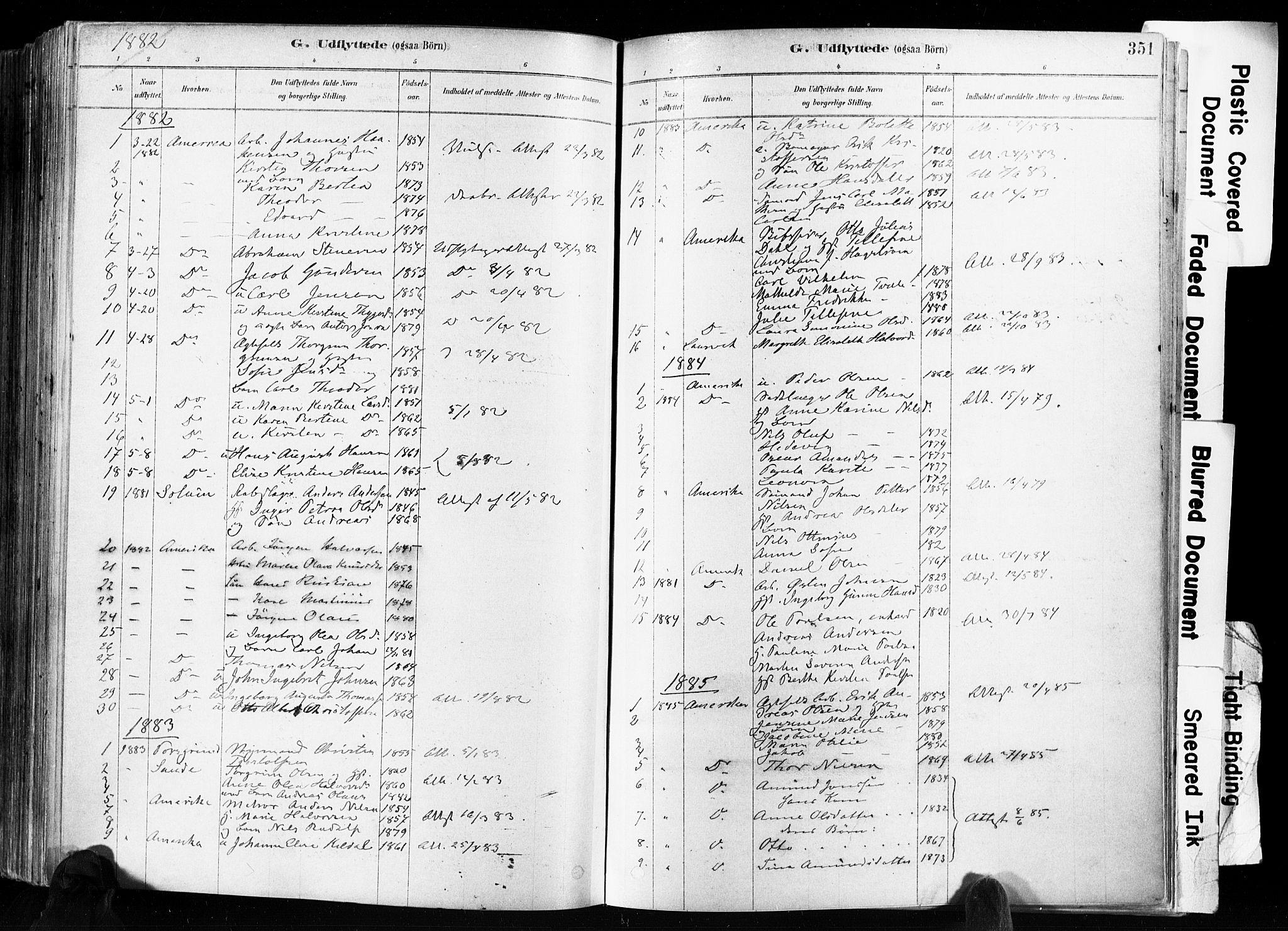 SAKO, Skien kirkebøker, F/Fa/L0009: Ministerialbok nr. 9, 1878-1890, s. 351