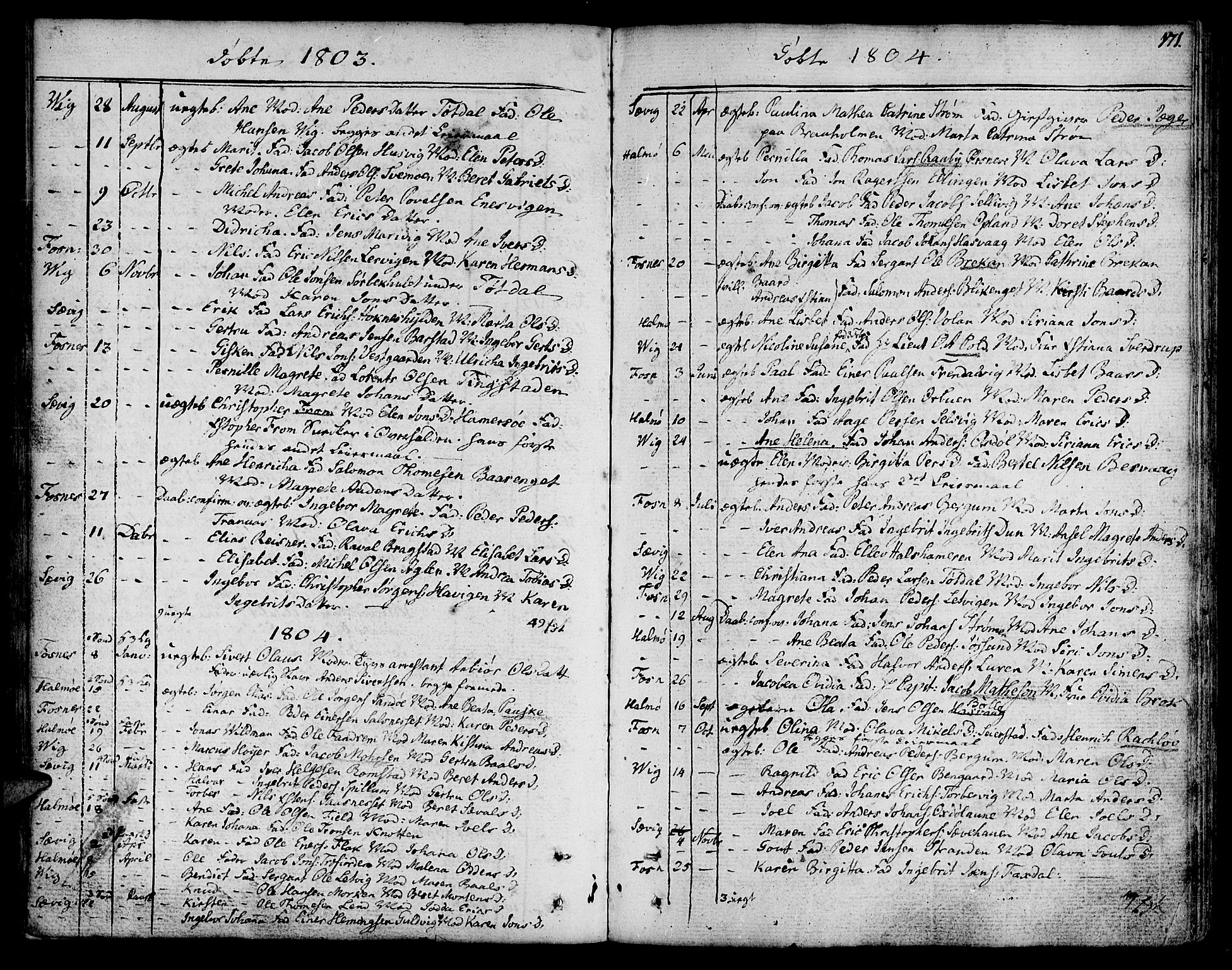 SAT, Ministerialprotokoller, klokkerbøker og fødselsregistre - Nord-Trøndelag, 773/L0608: Ministerialbok nr. 773A02, 1784-1816, s. 171