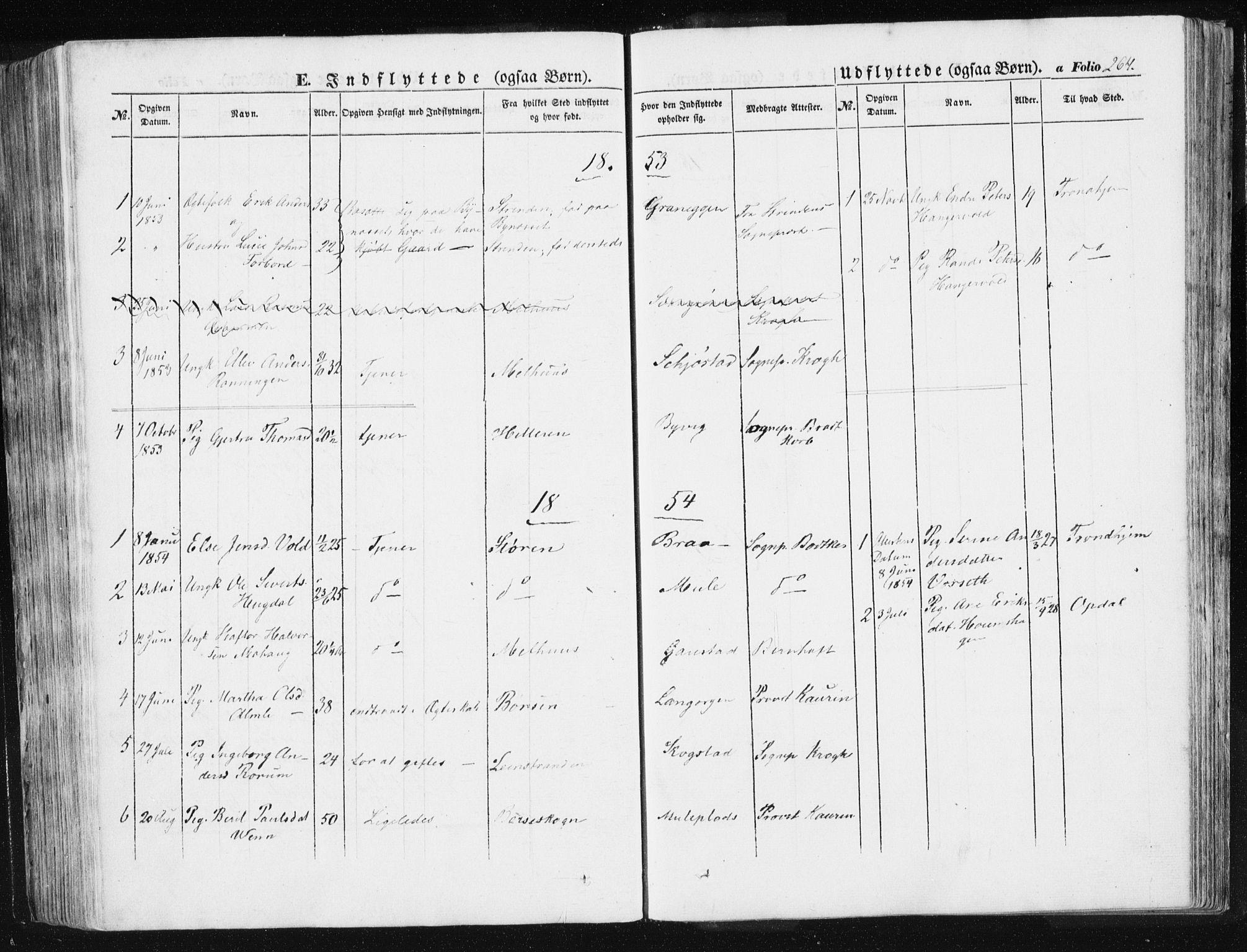 SAT, Ministerialprotokoller, klokkerbøker og fødselsregistre - Sør-Trøndelag, 612/L0376: Ministerialbok nr. 612A08, 1846-1859, s. 264