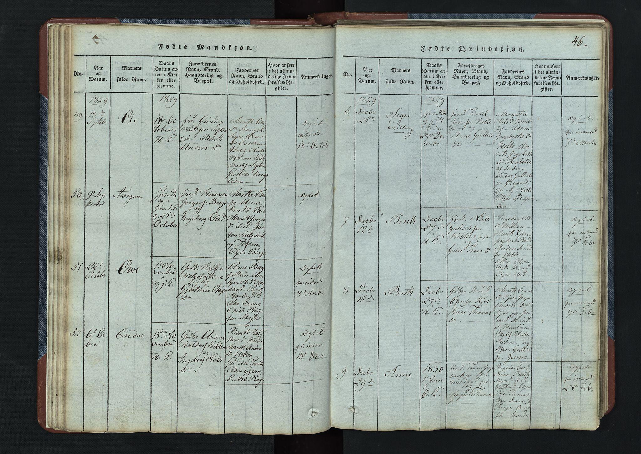 SAH, Vang prestekontor, Valdres, Klokkerbok nr. 3, 1814-1892, s. 46