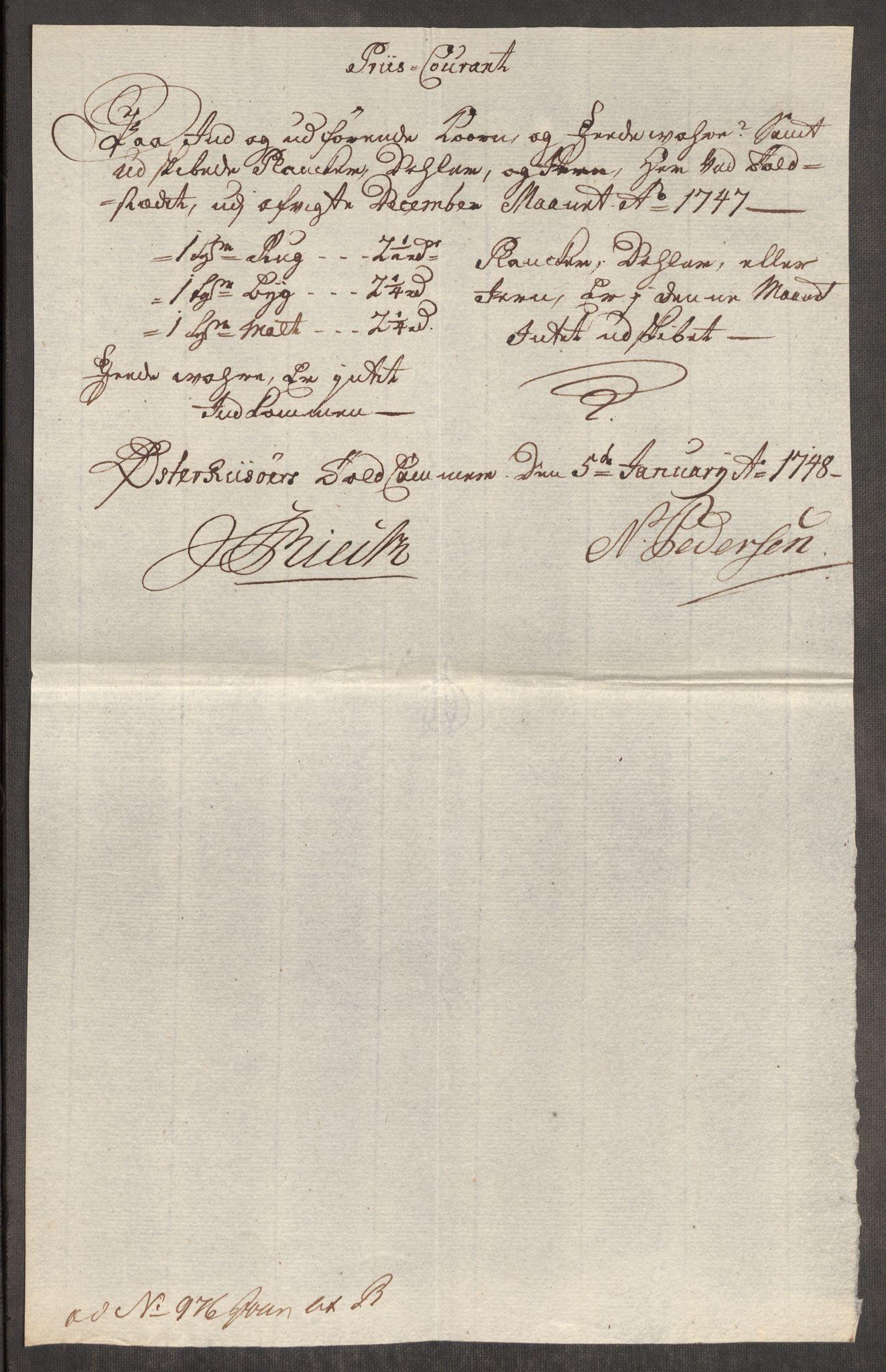 RA, Rentekammeret inntil 1814, Realistisk ordnet avdeling, Oe/L0003: [Ø1]: Priskuranter, 1745-1748, s. 597