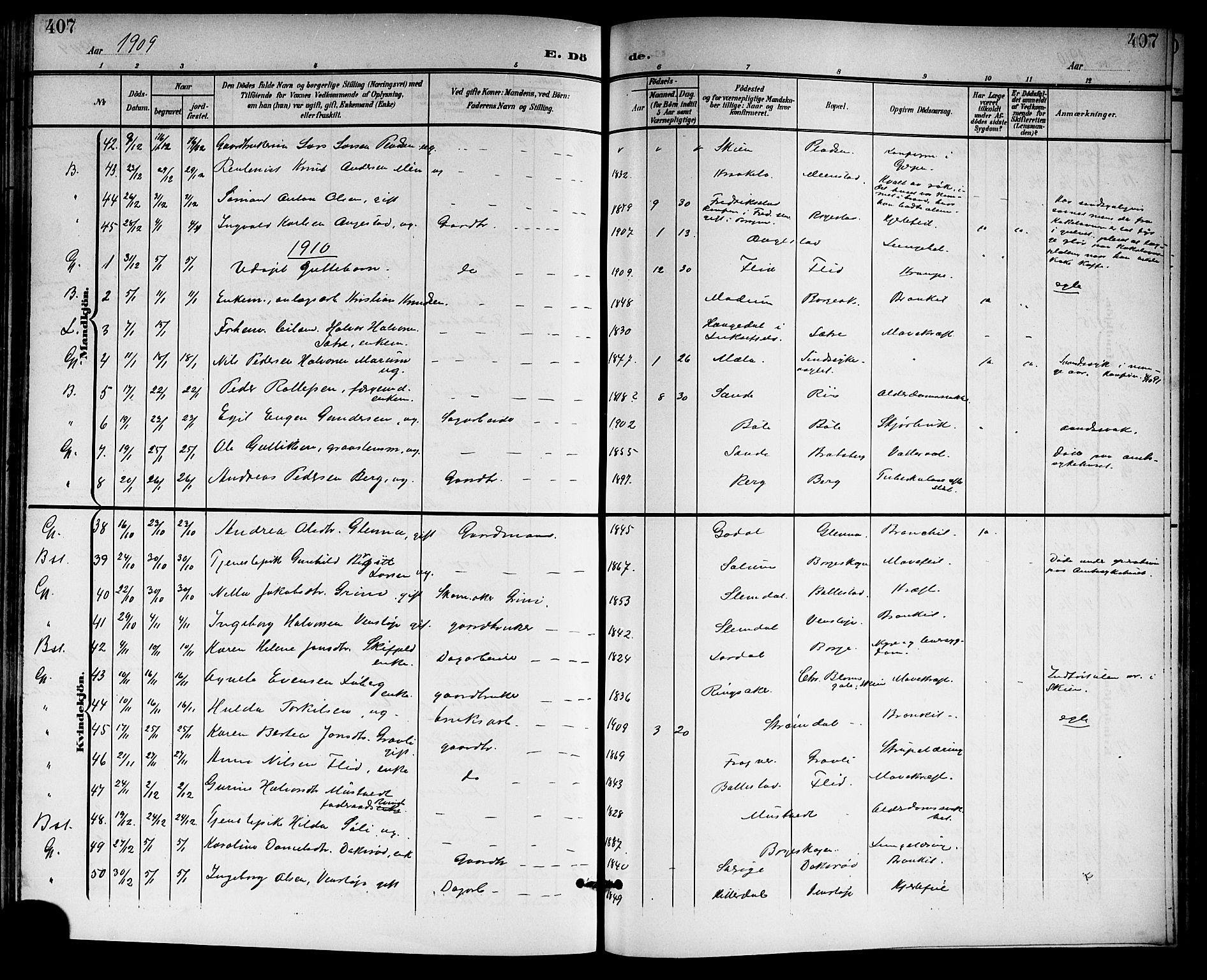 SAKO, Gjerpen kirkebøker, G/Ga/L0003: Klokkerbok nr. I 3, 1901-1919, s. 407