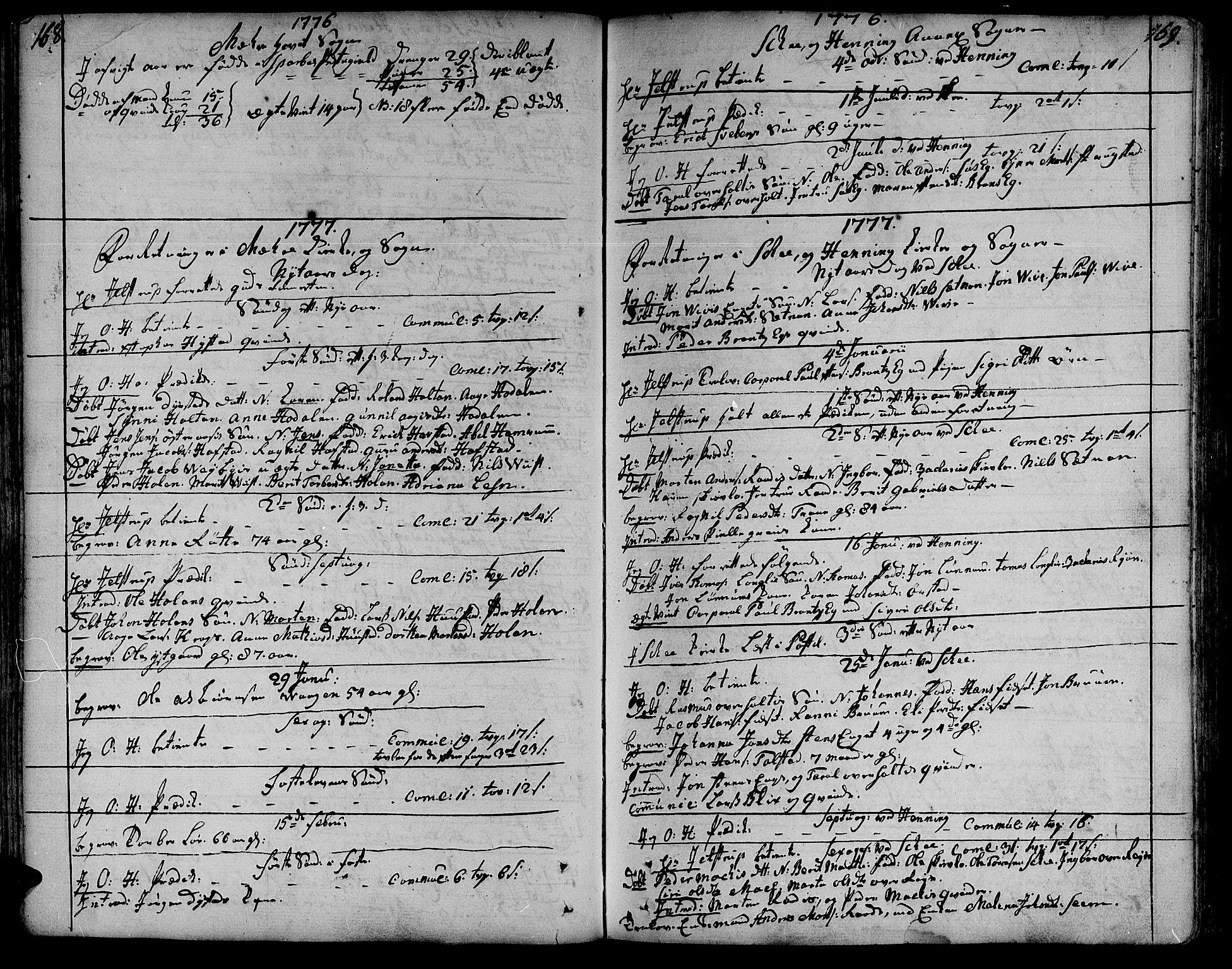SAT, Ministerialprotokoller, klokkerbøker og fødselsregistre - Nord-Trøndelag, 735/L0331: Ministerialbok nr. 735A02, 1762-1794, s. 168-169