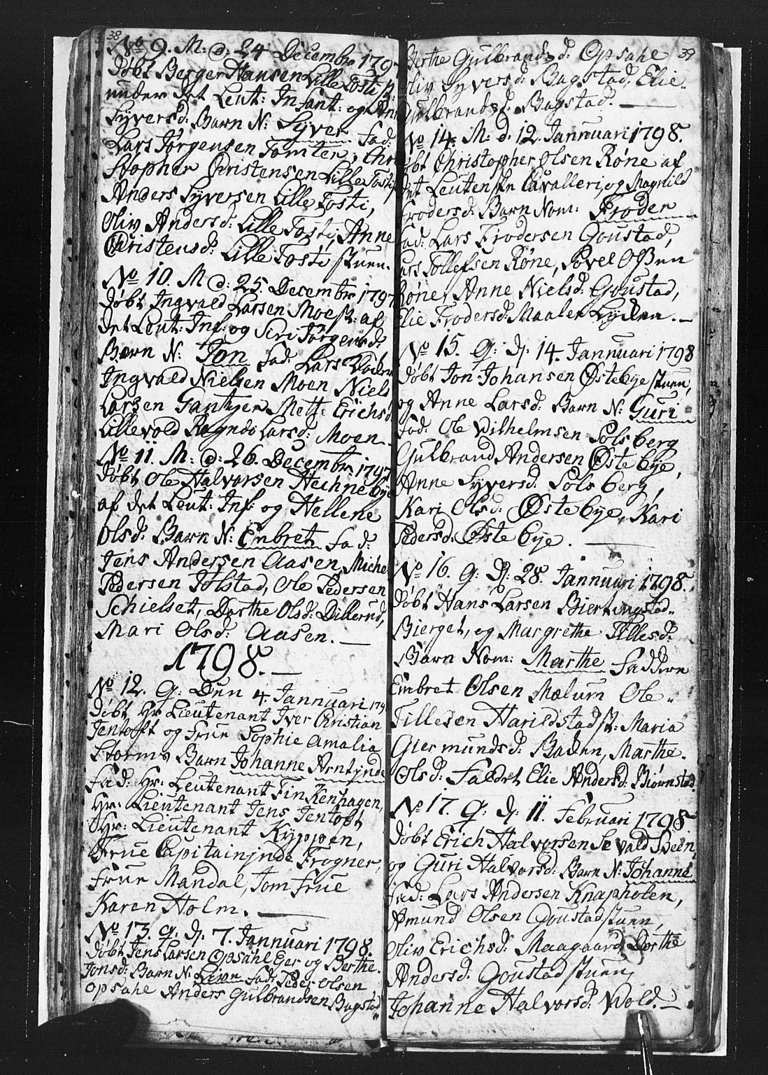 SAH, Romedal prestekontor, L/L0002: Klokkerbok nr. 2, 1795-1800, s. 38-39
