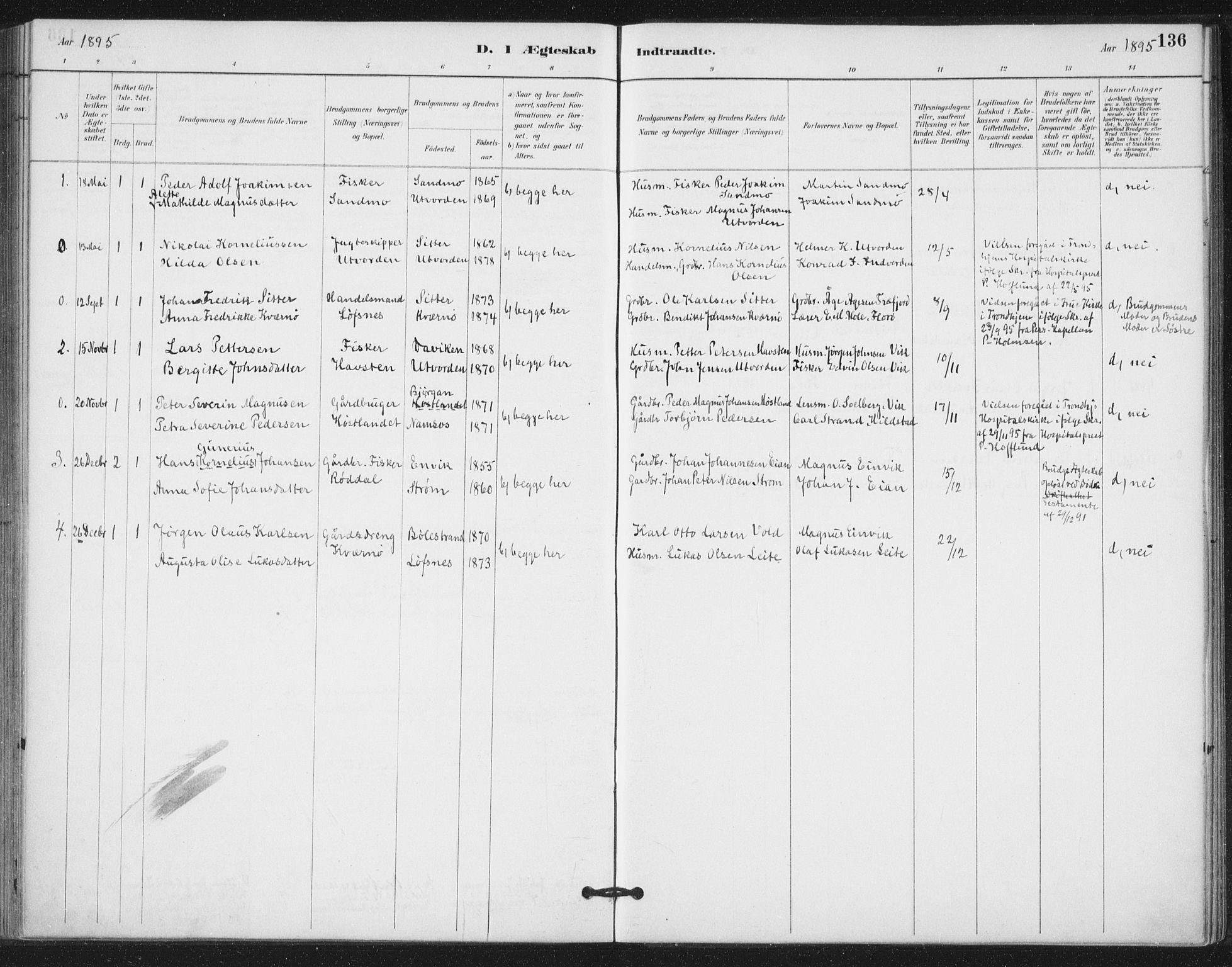 SAT, Ministerialprotokoller, klokkerbøker og fødselsregistre - Nord-Trøndelag, 772/L0603: Ministerialbok nr. 772A01, 1885-1912, s. 136