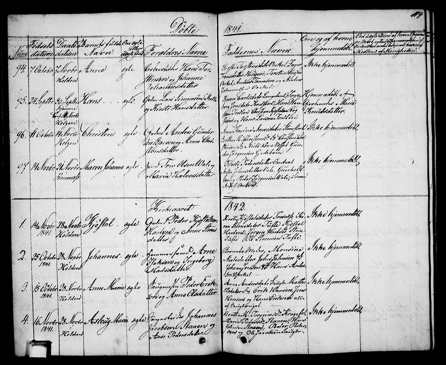 SAKO, Holla kirkebøker, G/Ga/L0002: Klokkerbok nr. I 2, 1830-1848, s. 119