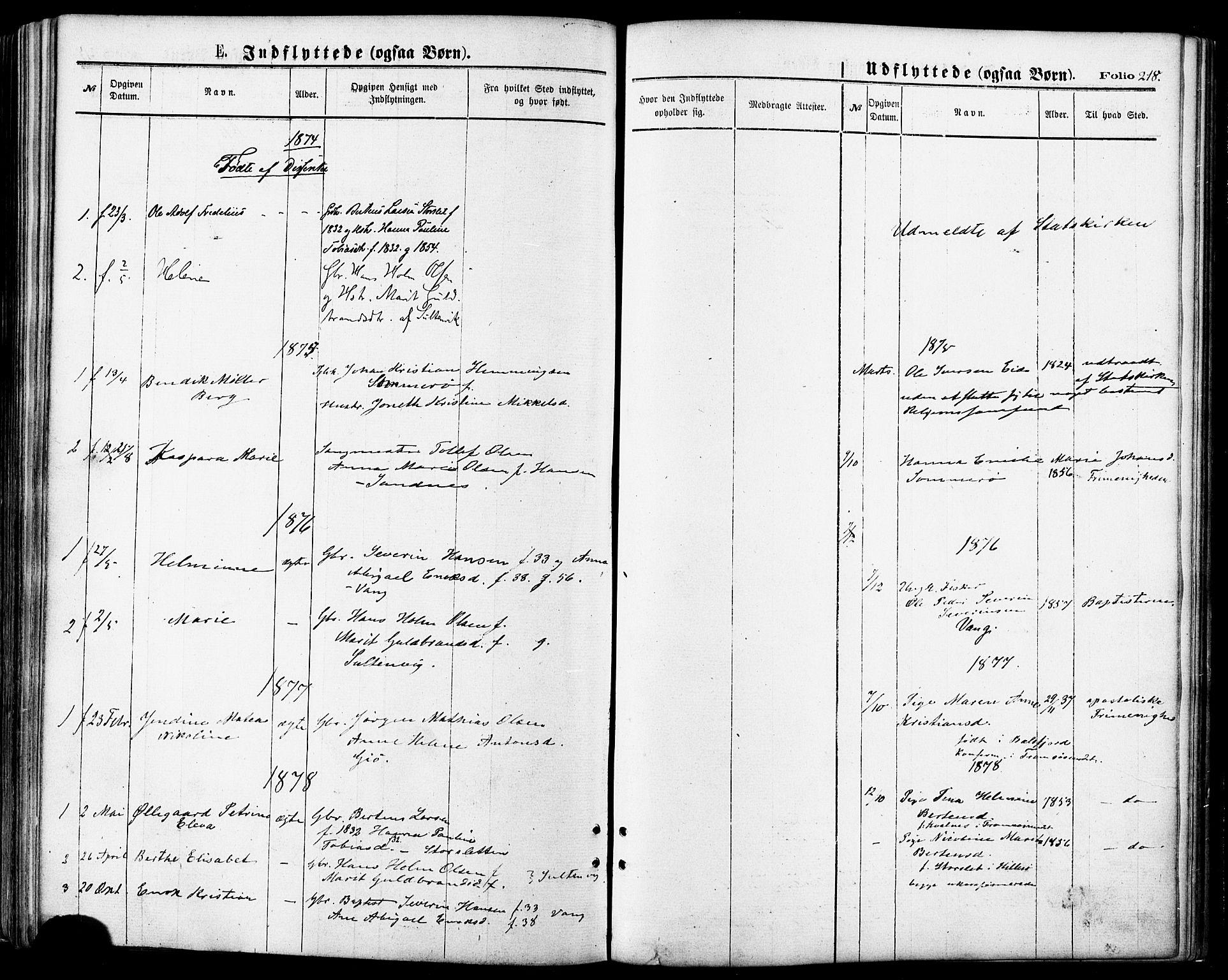 SATØ, Lenvik sokneprestembete, H/Ha: Ministerialbok nr. 10, 1873-1880, s. 218