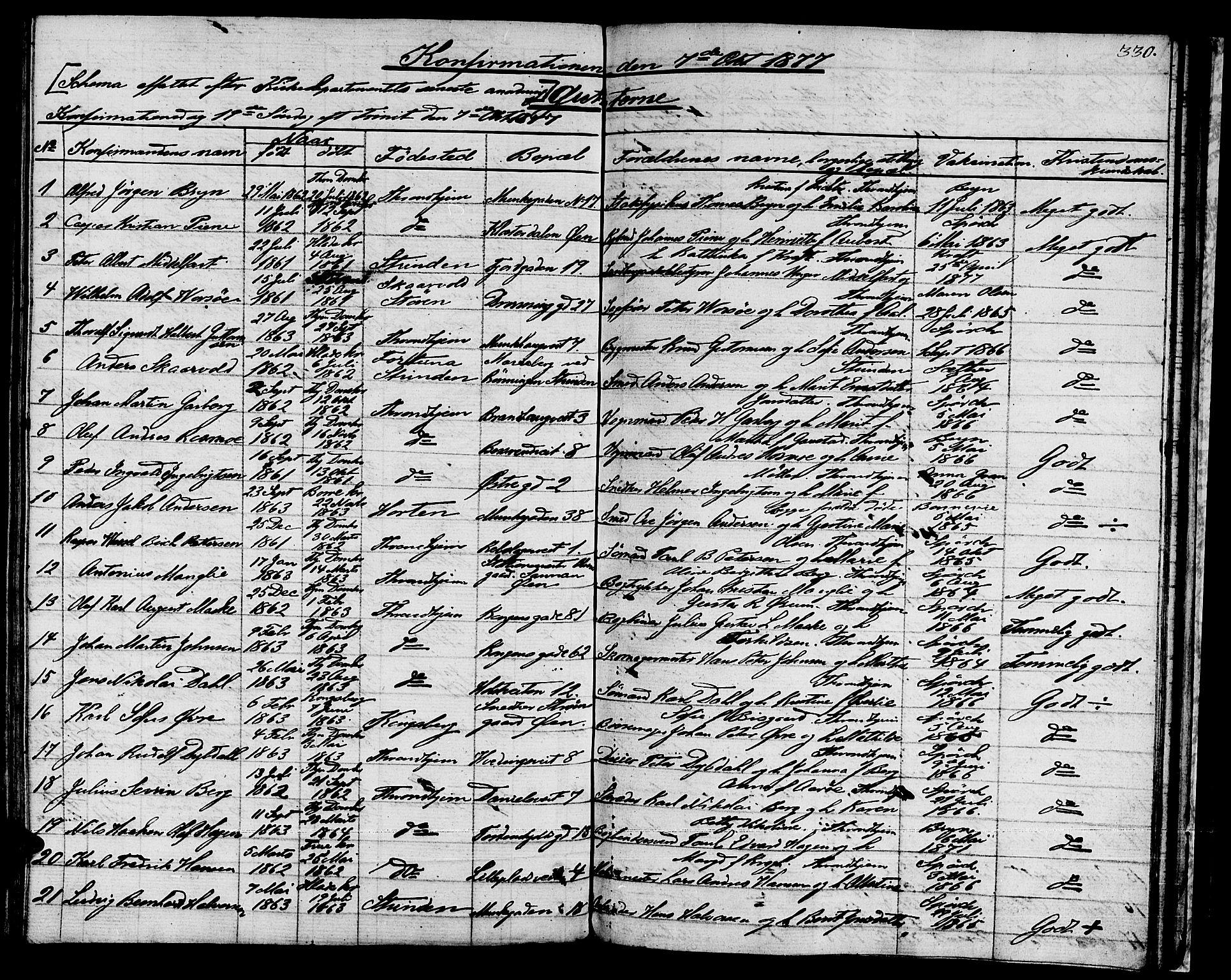 SAT, Ministerialprotokoller, klokkerbøker og fødselsregistre - Sør-Trøndelag, 601/L0070: Residerende kapellans bok nr. 601B03, 1821-1881, s. 330